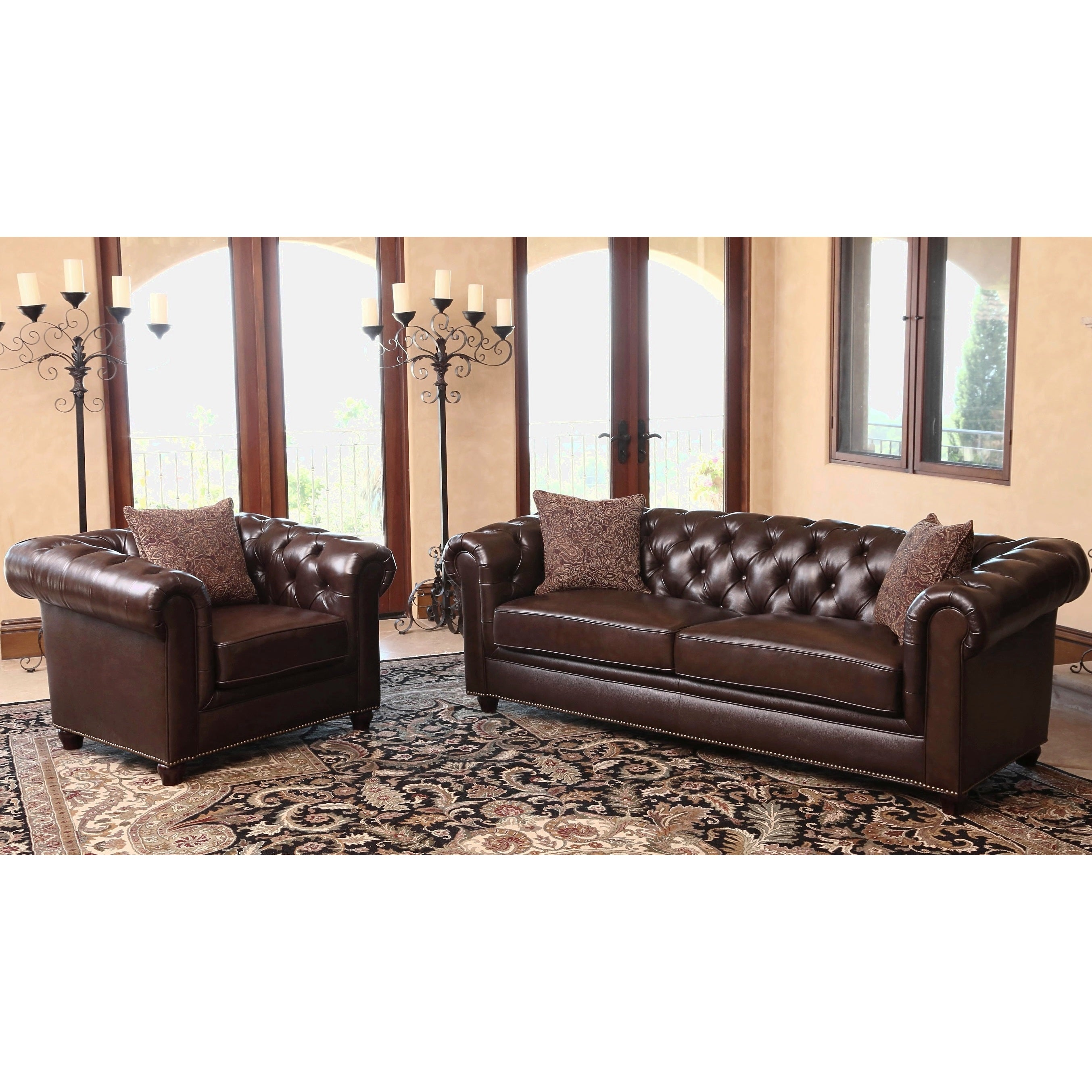 Shop Abbyson Carmela Dark Brown Top Grain Leather Chesterfield 2