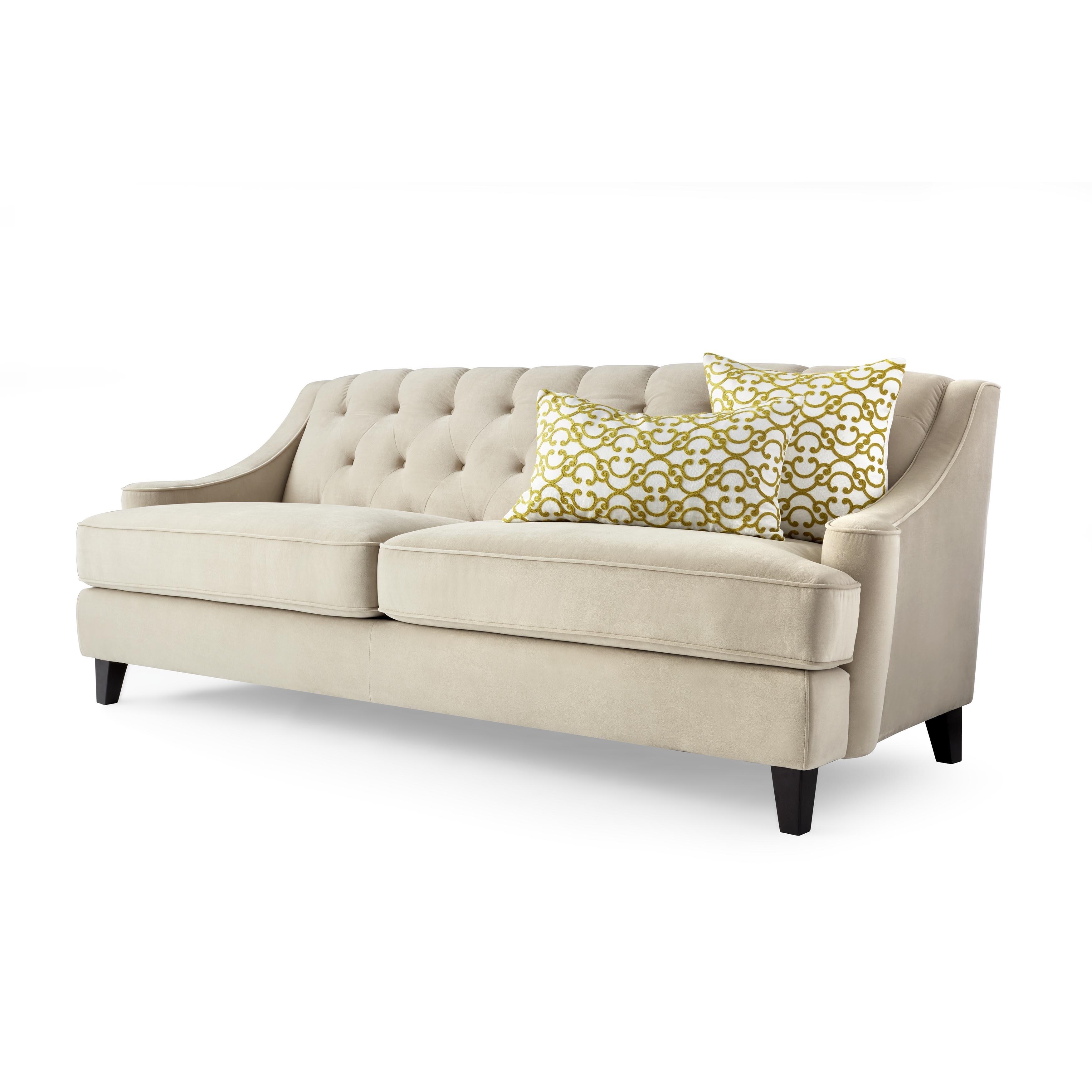 Shop Abbyson Claridge Taupe Velvet Fabric Tufted Sofa - Free ...