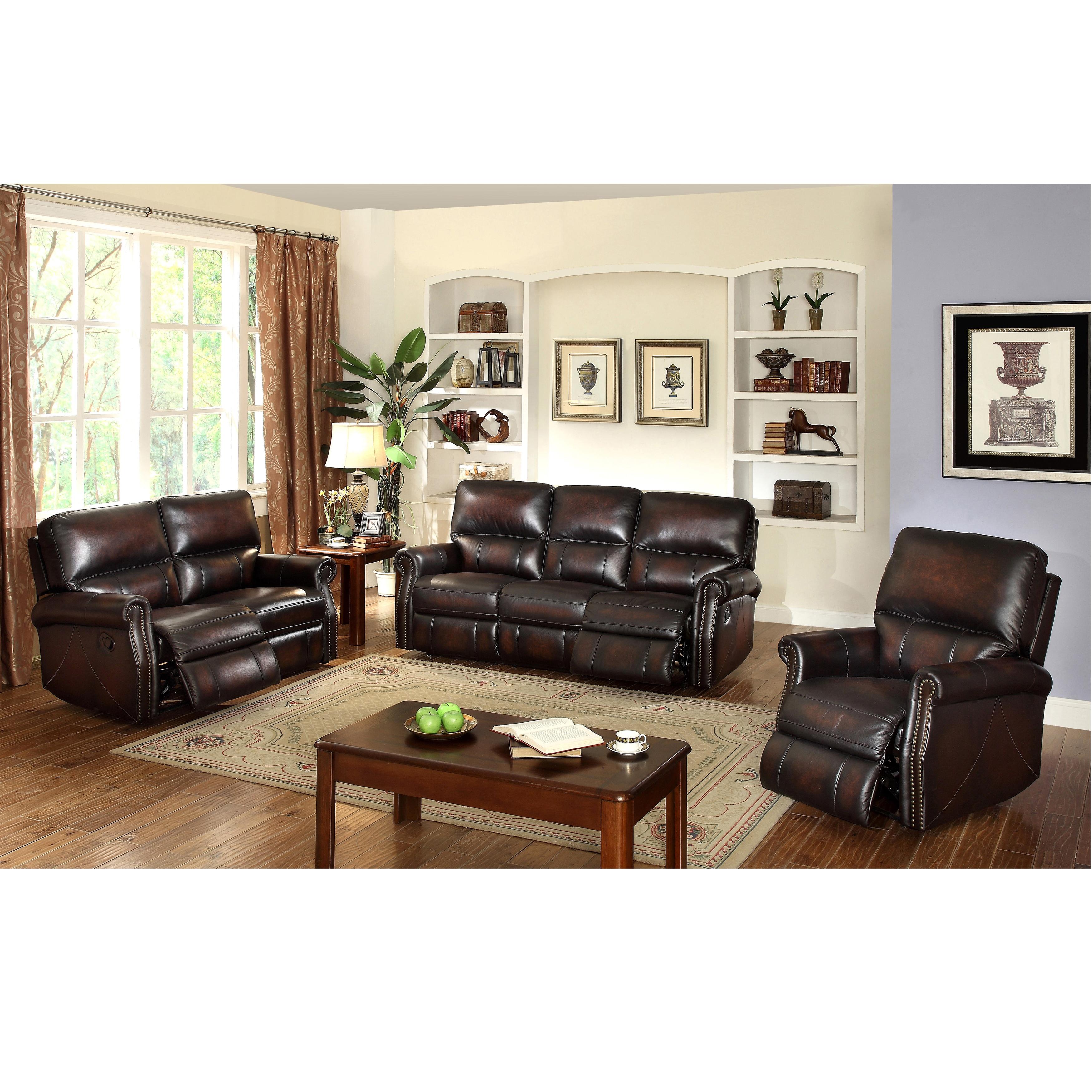 Crestview Dark Brown Top Grain Leather Lay Flat Reclining Sofa  ~ Lay Flat Reclining Sofa