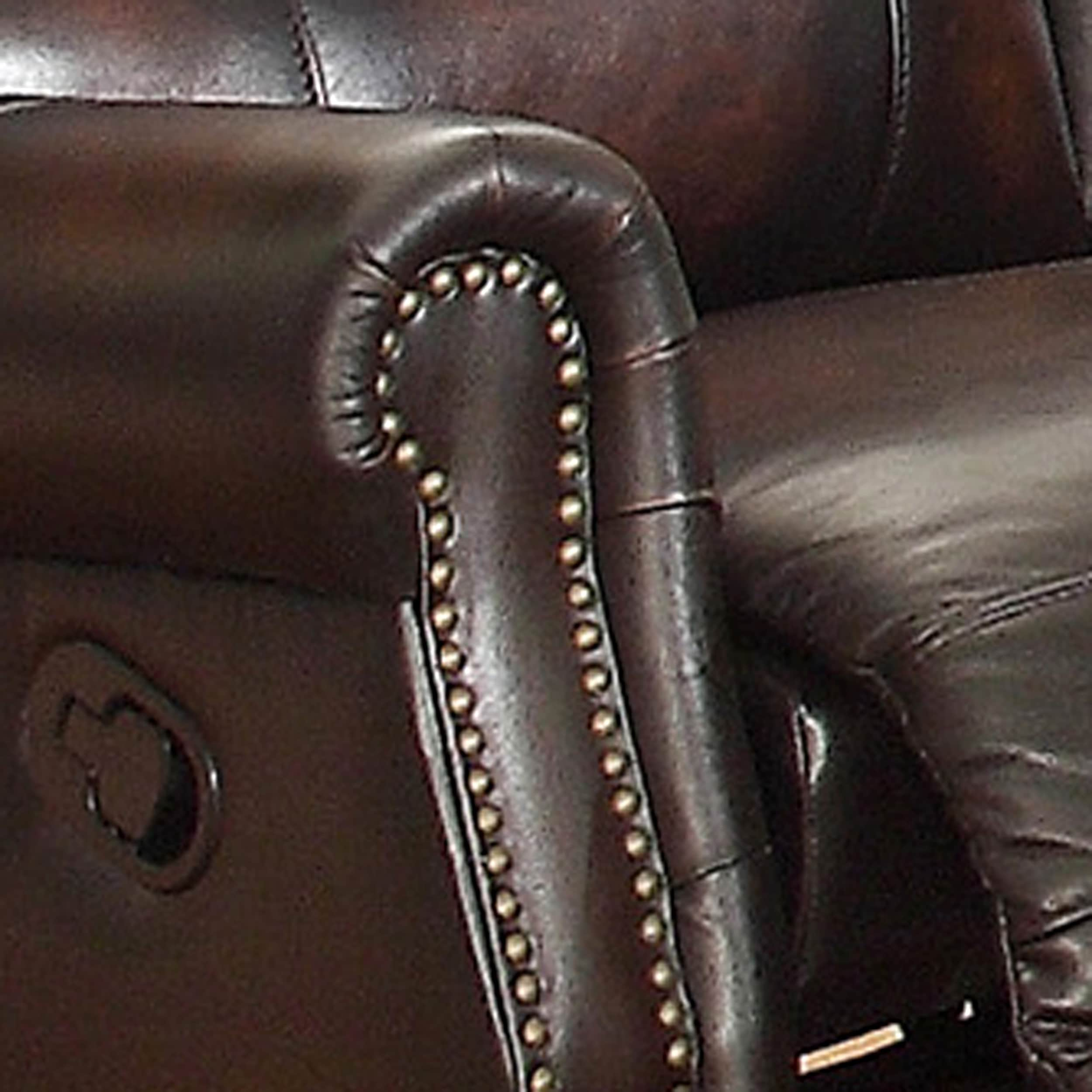 Crestview Dark Brown Top Grain Leather Lay Flat Reclining Sofa and