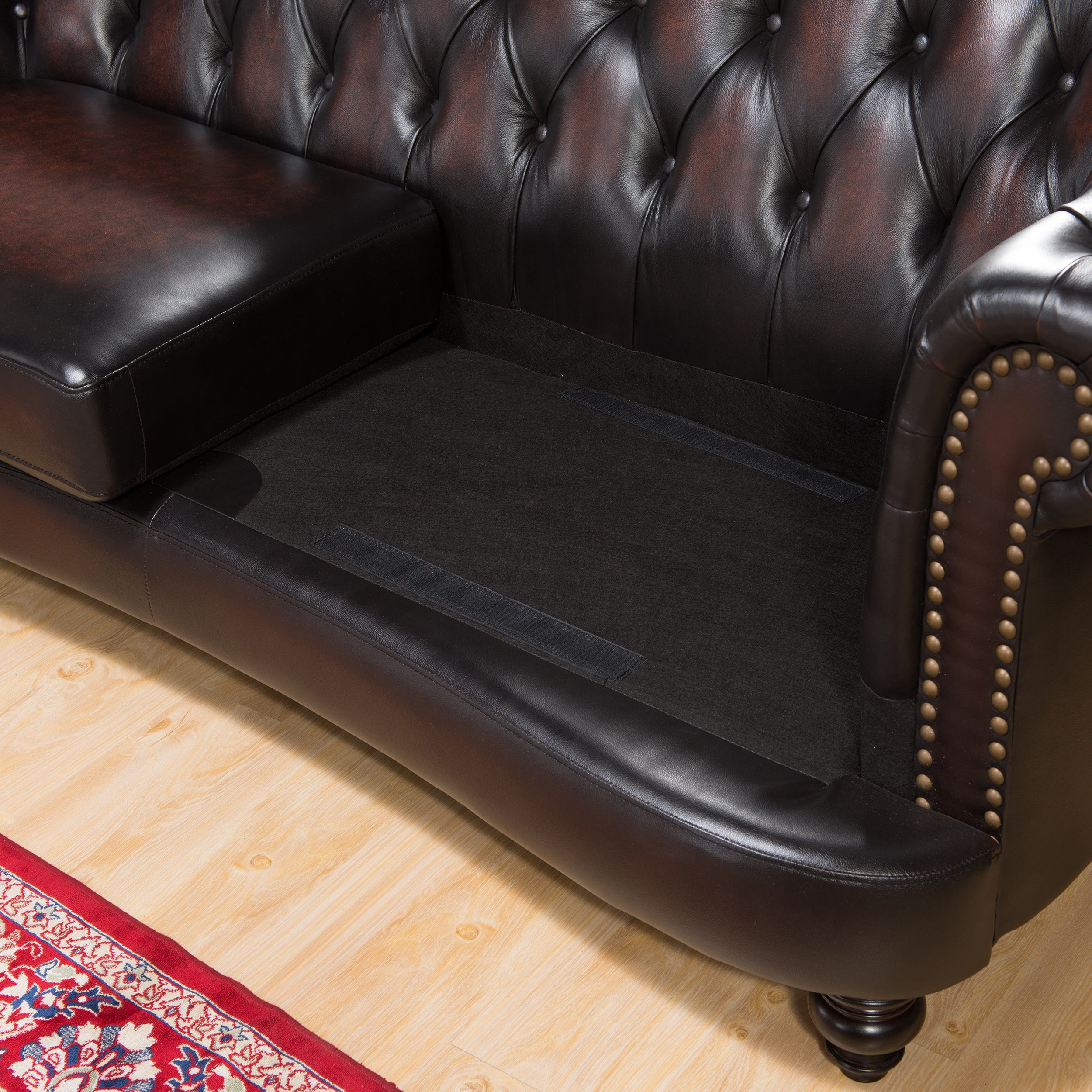 Moore Hand Rubbed Tufted Brown Chesterfield Top Grain Leather Sofa  ~ Leather Sofa And Two Chairs