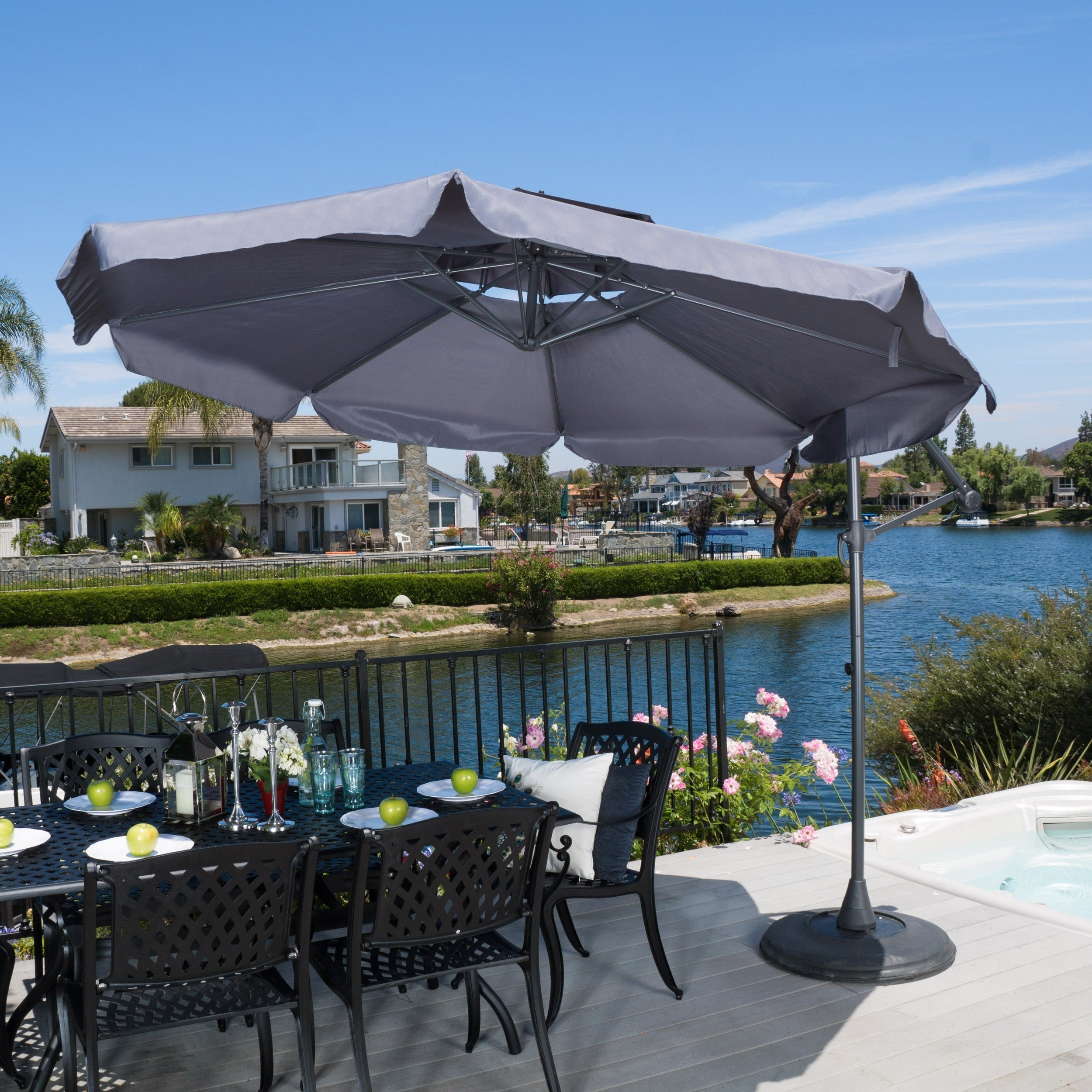 Outdoor Baja Banana Canopy Umbrella with Base by Christopher Knight Home - Free Shipping Today - Overstock.com - 16738517 & Outdoor Baja Banana Canopy Umbrella with Base by Christopher ...