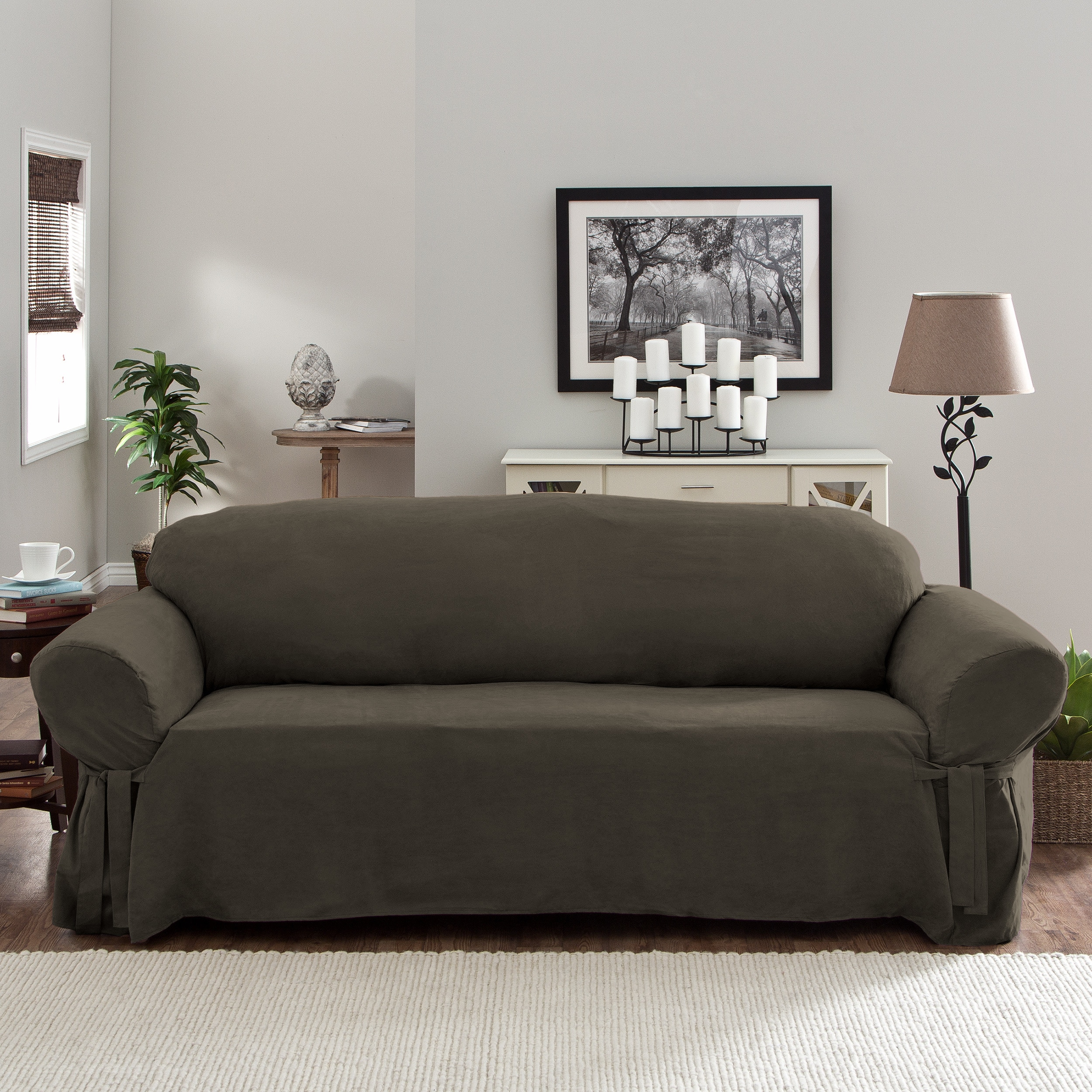 Tailor Fit Relaxed Fit Smooth Suede Sofa Slipcover Free Shipping