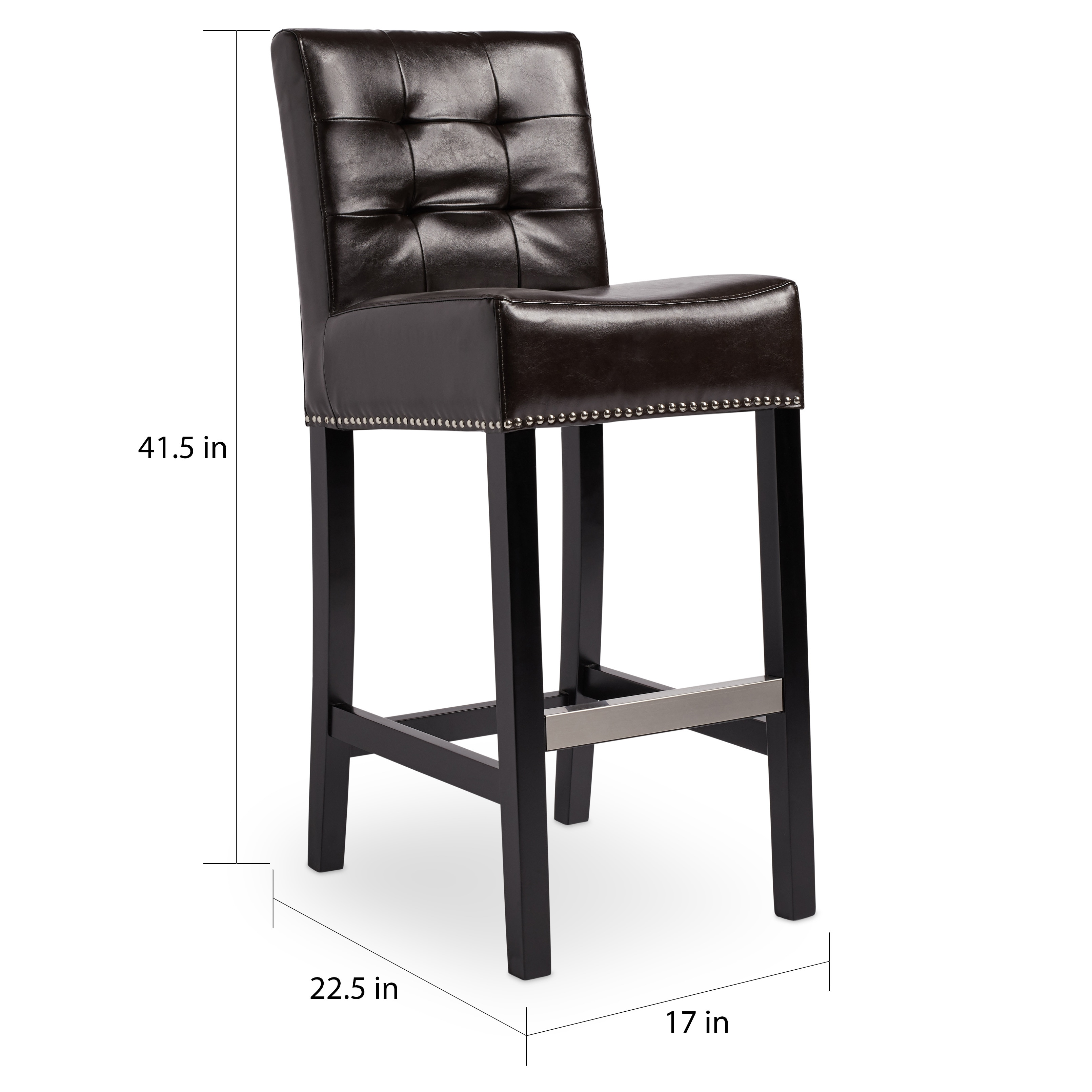 Abbyson Masimo 30 Inch Dark Brown Bonded Leather Bar Stool Free Shipping Today 9557834