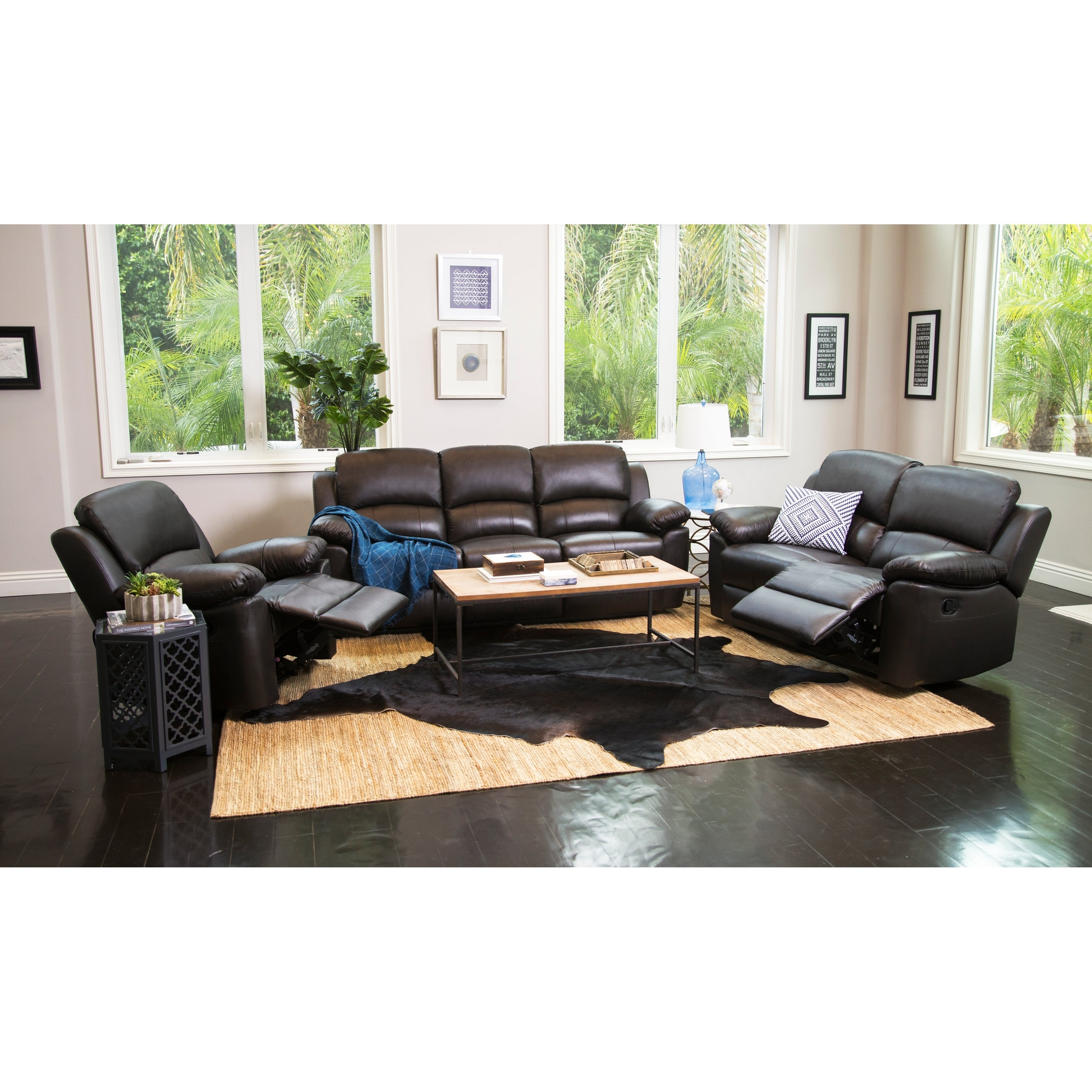 Abbyson Westwood Leather 3 Piece Living Room Reclining Set Free