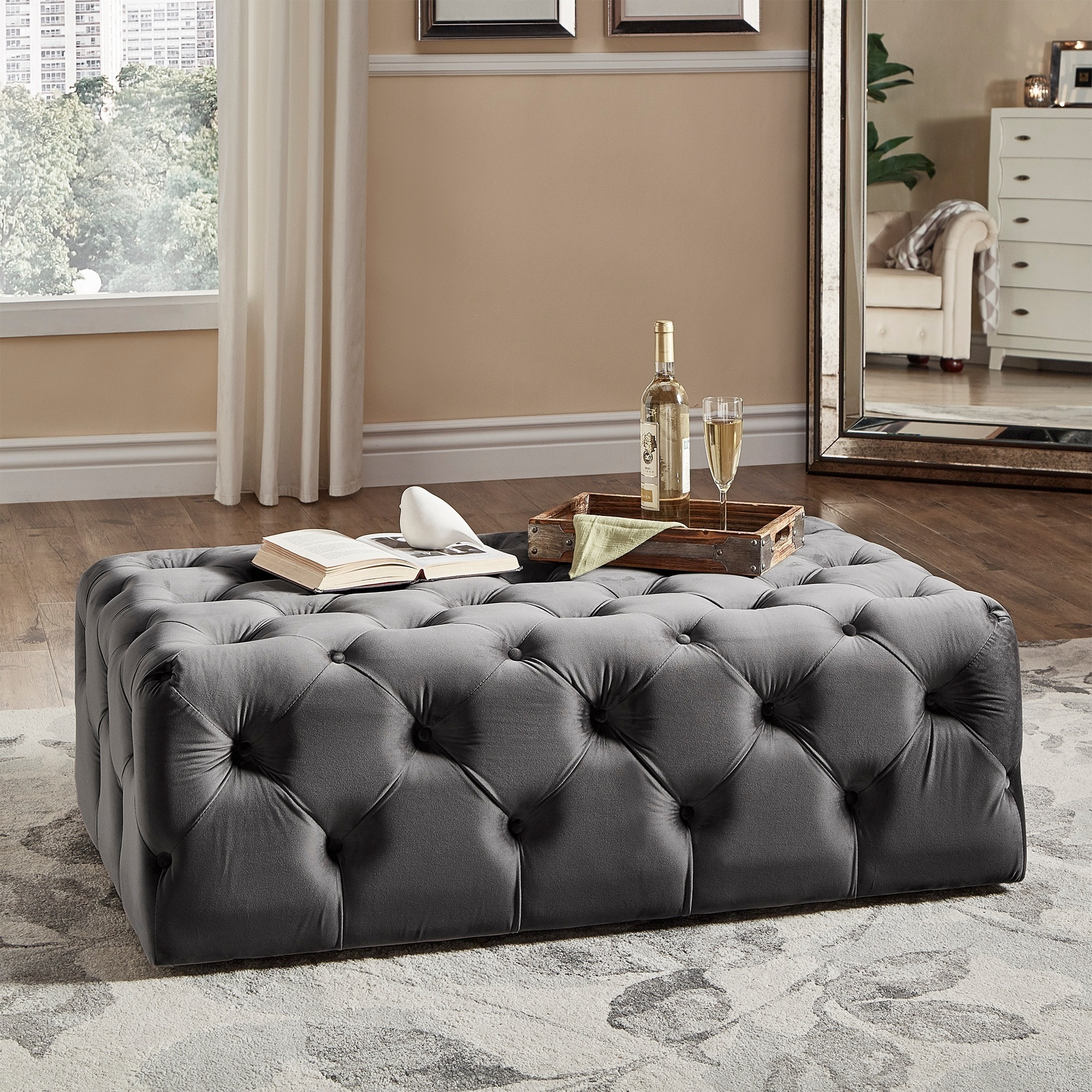 Knightsbridge Rectangular Linen Tufted Cocktail Ottoman with Casters by  iNSPIRE Q Artisan - Free Shipping Today - Overstock.com - 16740214