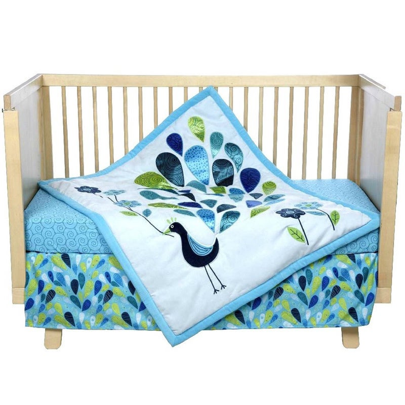 incredible Peacock Baby Bedding Sets Part - 15: Shop BananaFish Peacock Blues Baby 3-piece Crib Bedding Set - Free Shipping  Today - Overstock.com - 9561121