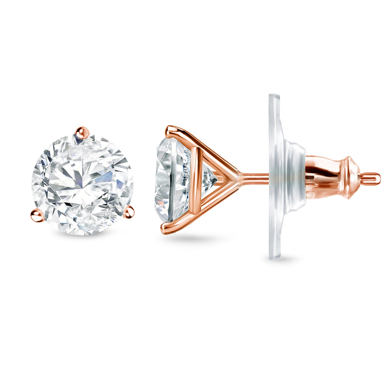 earring round diamond zirconia earrings prong products cz cubic customizable stud single