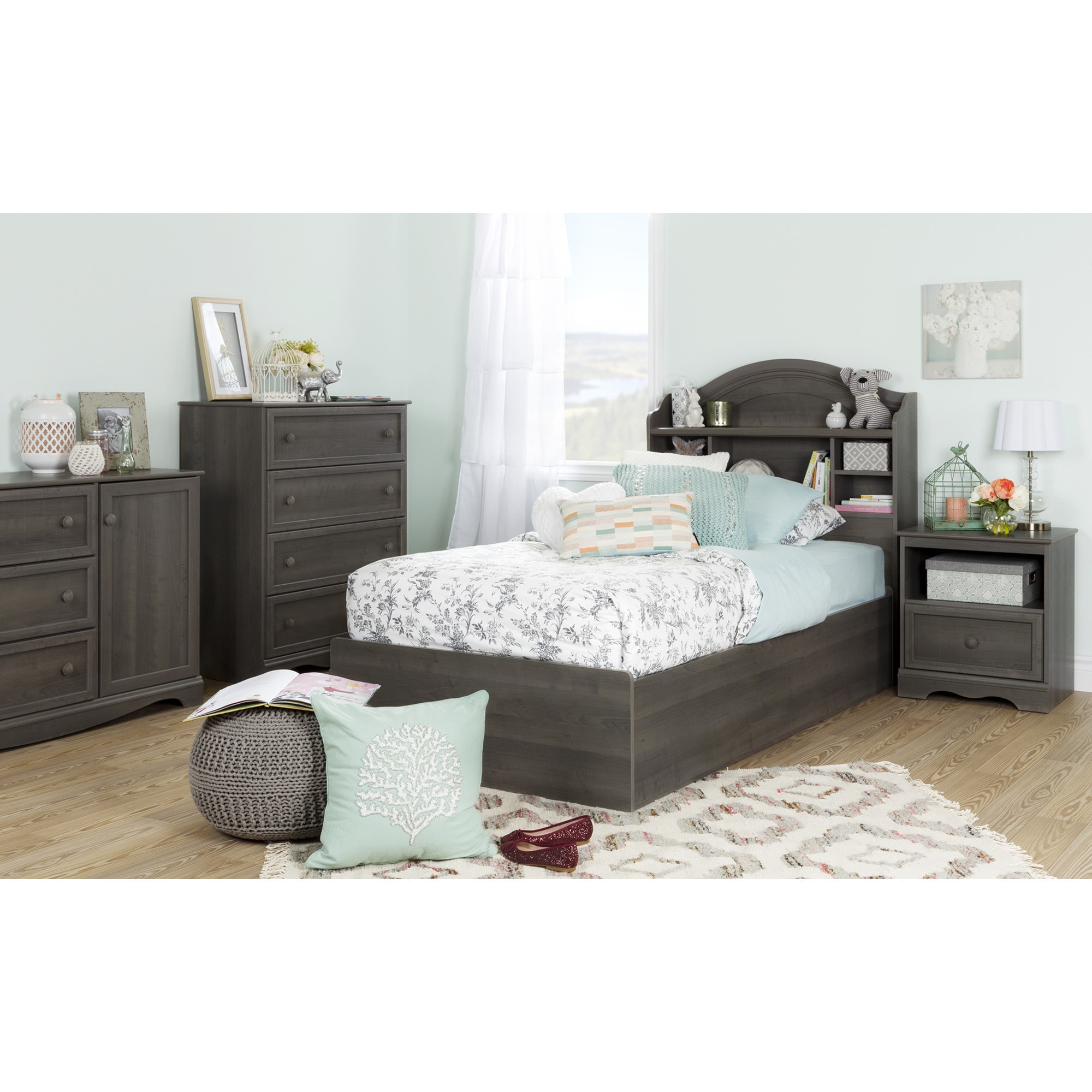 South Shore Savannah Twin Bookcase Headboard  Free Shipping Today