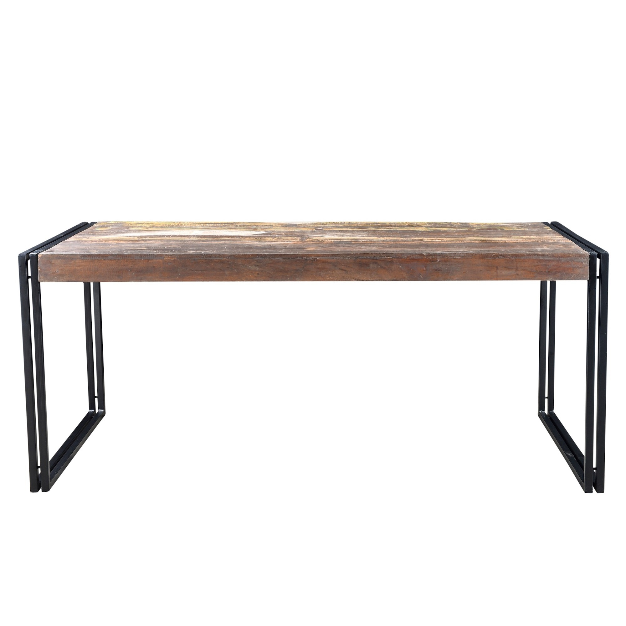 Shop Handmade Timbergirl Old Reclaimed Wood Dining Table With Iron - Reclaimed wood and iron dining table