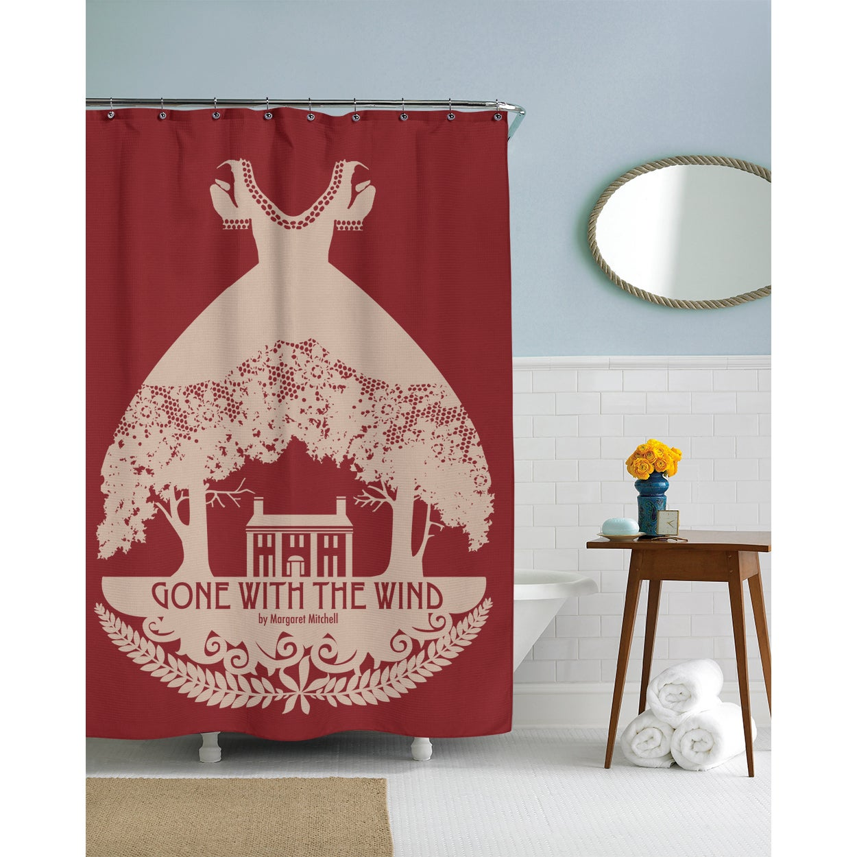 Shop Gone With The Wind Cranberry Shower Curtain
