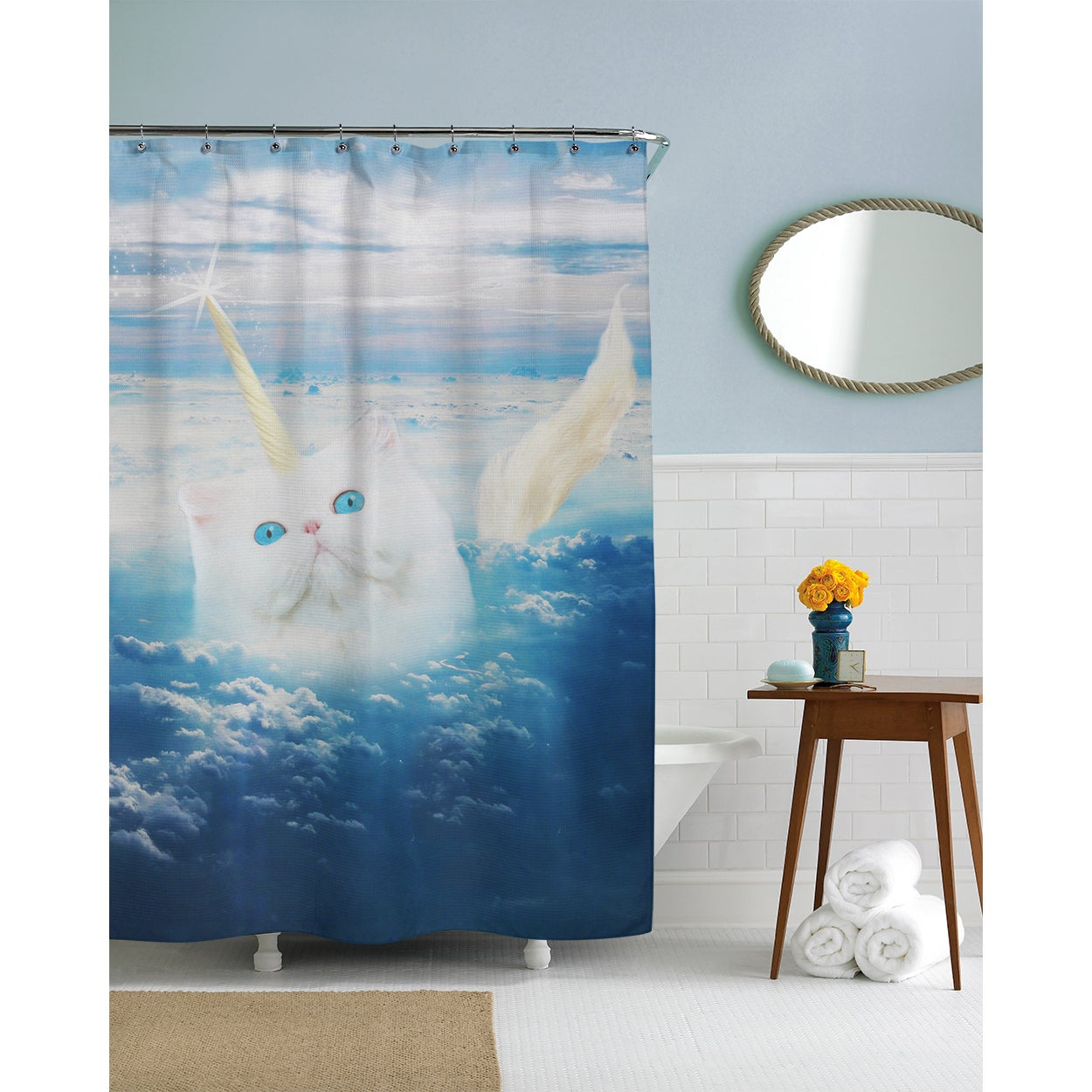Shop Caticorn Cat Unicorn Shower Curtain - Free Shipping Today ...