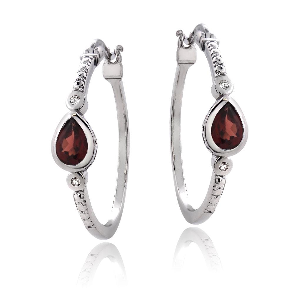 7fc4b7a983923 Glitzy Rocks Sterling Silver Gemstone Hoop Earrings