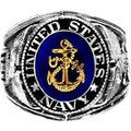 Silvertone Official US Navy Deluxe Engraved Ring