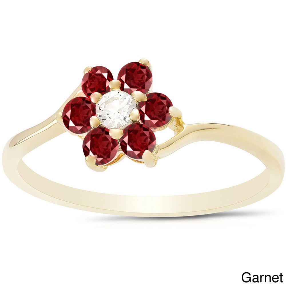 Shop Dolce Giavonna Sterling Silver Gemstone Flower Ring - On Sale ...