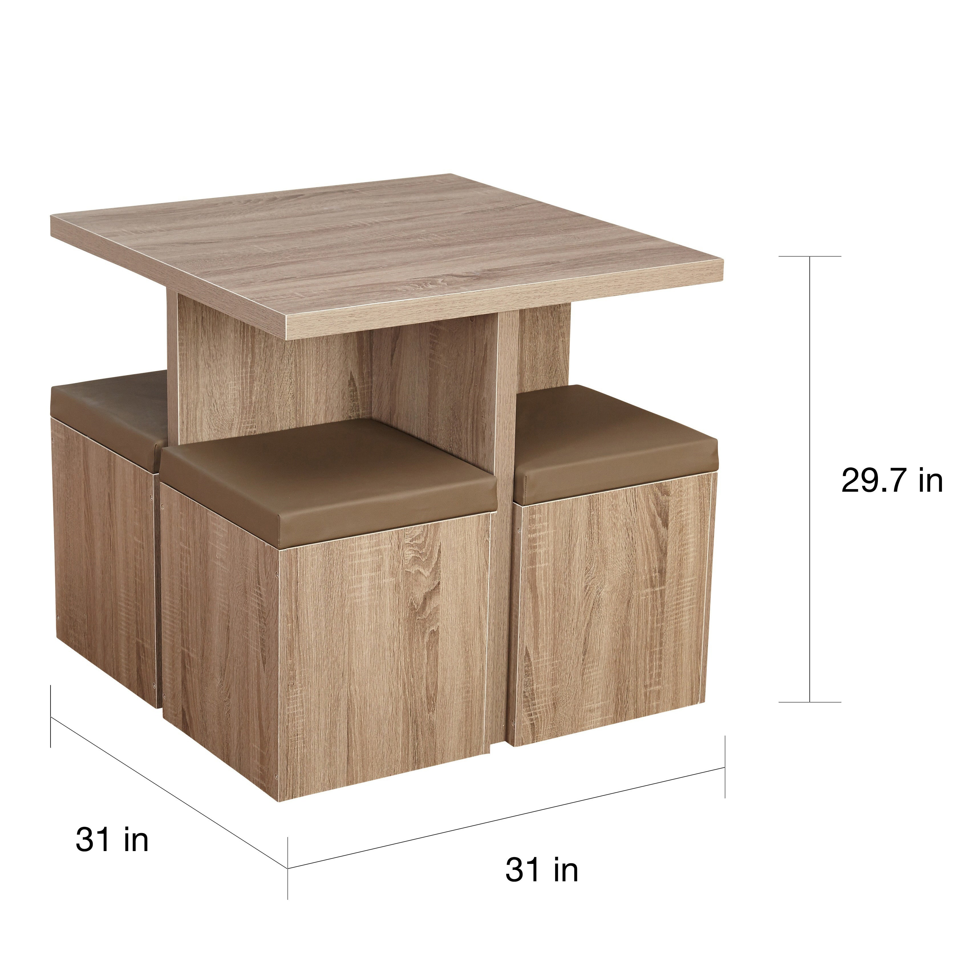 Simple Living 5 Piece Baxter Dining Set With Storage Ottomans Free Shipping Today 9570455