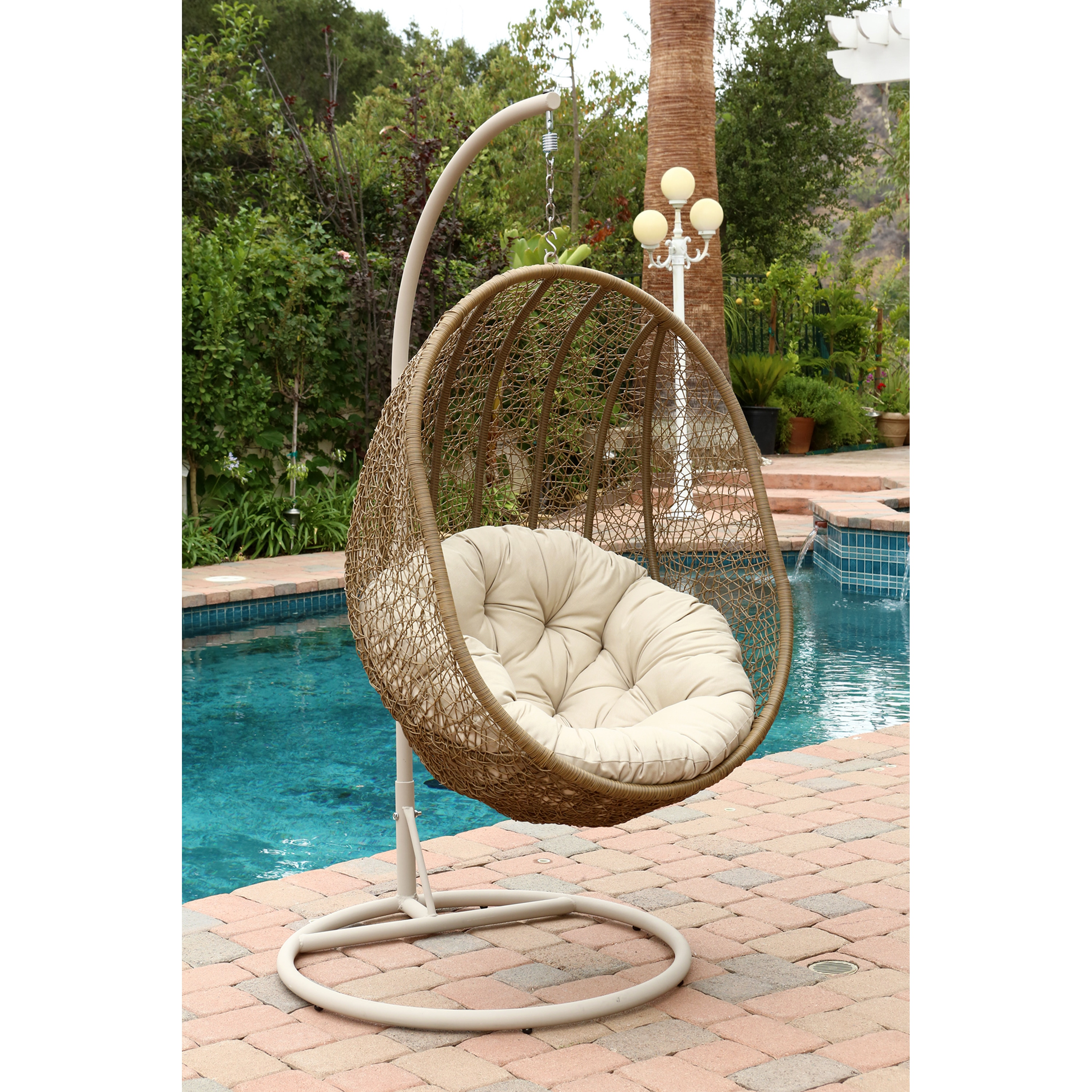 Shop Abbyson Hampton Swinging Egg Outdoor Wicker Chair   On Sale   Free  Shipping Today   Overstock.com   9571233