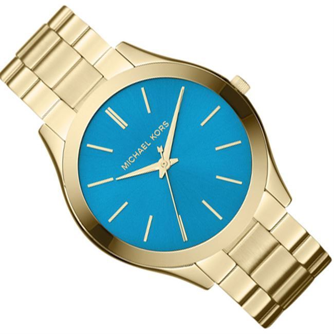 a2d23ce8dff1 Shop Michael Kors Women s MK3265 Slim Runway Goldtone Turquoise Dial Watch  - Free Shipping Today - Overstock - 9572077