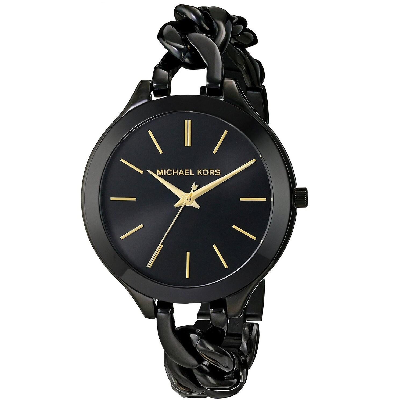 Shop Michael Kors Women s MK3317 Slim Runway Black Watch - Free Shipping  Today - Overstock - 9572083 0b4de33cdab8