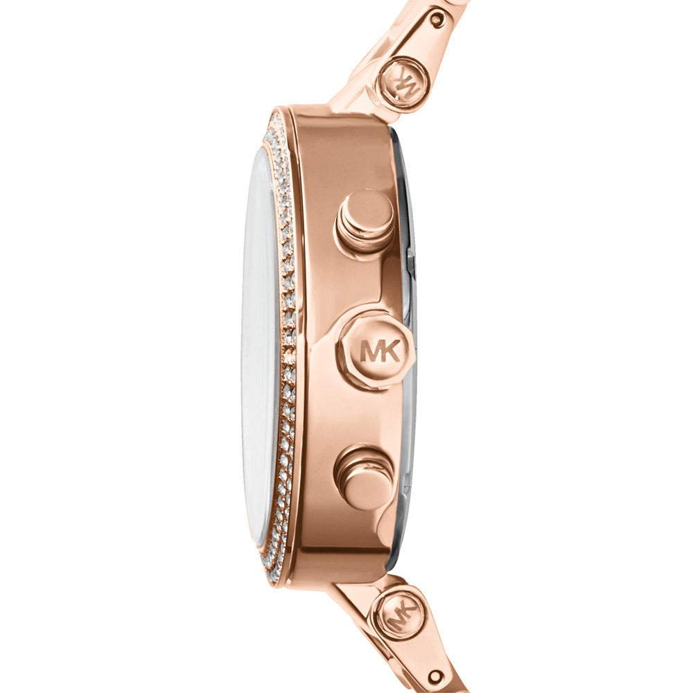 36b30d527ae9 Shop Michael Kors Women s MK5896  Parker  Rose Goldtone Chronograph Watch -  Pink - Free Shipping Today - Overstock - 9573640