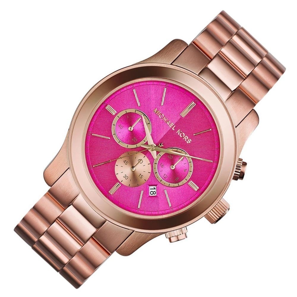 1b311ca4a08c Shop Michael Kors Women s MK5931 Runway Rose Goldtone Pink Dial Watch -  Free Shipping Today - Overstock - 9573641