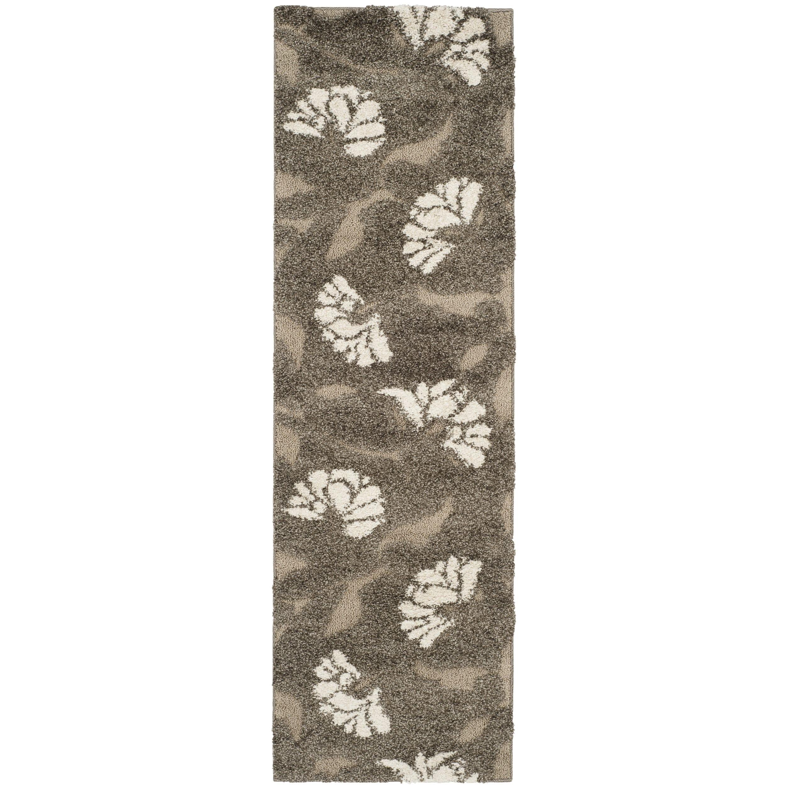 d60b59b17db Shop Safavieh Florida Shag Smoke  Beige Floral Area Rug - 3 3