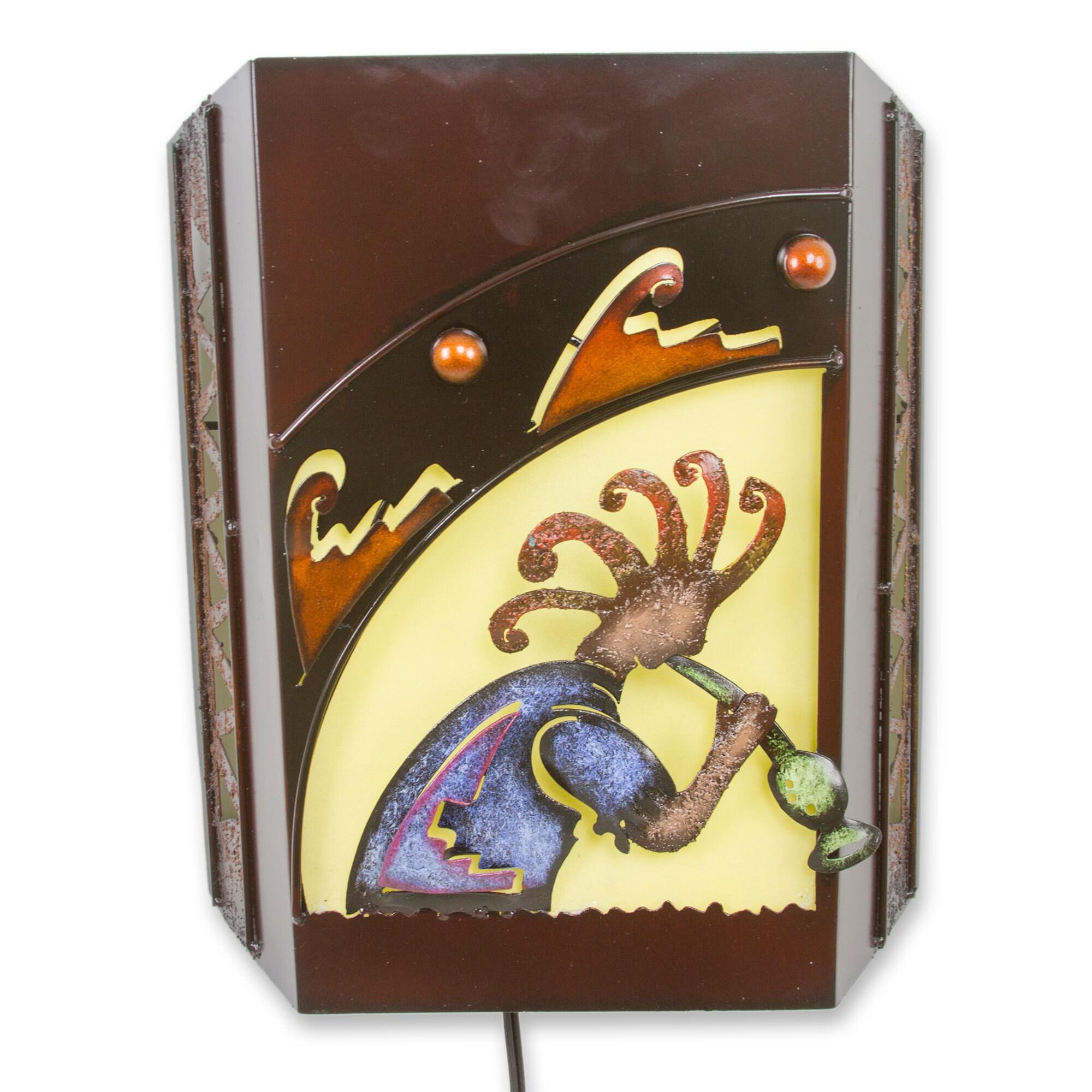 Shop Handmade Iron \'Song of Kokopelli\' Wall Lamp (Mexico) - Free ...