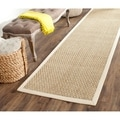 Safavieh Casual Natural Fiber Natural and Ivory Border Seagrass Rug (2'6 x 8')