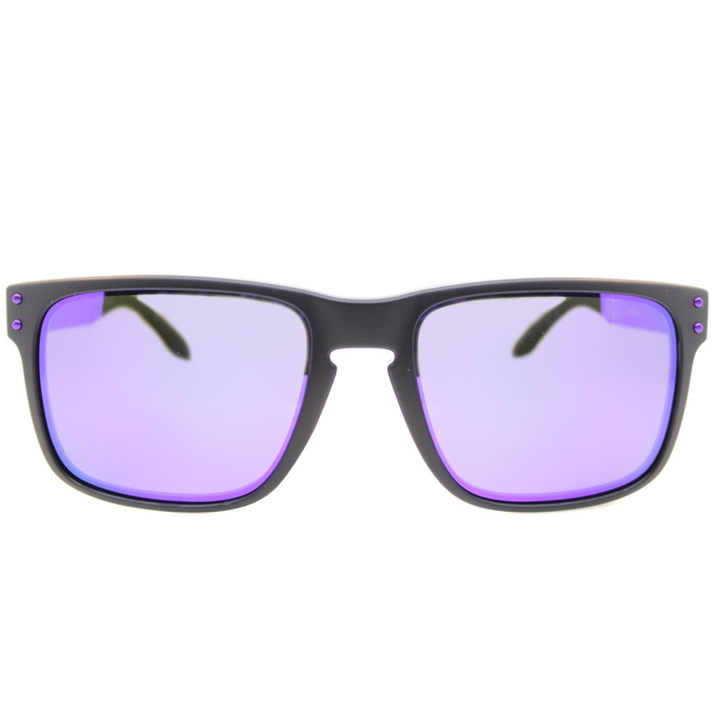 64c0cccc0dd Shop Oakley Holbrook Sunglasses Matte Black  Violet Iridium 57mm - Black -  Free Shipping Today - Overstock.com - 9575972