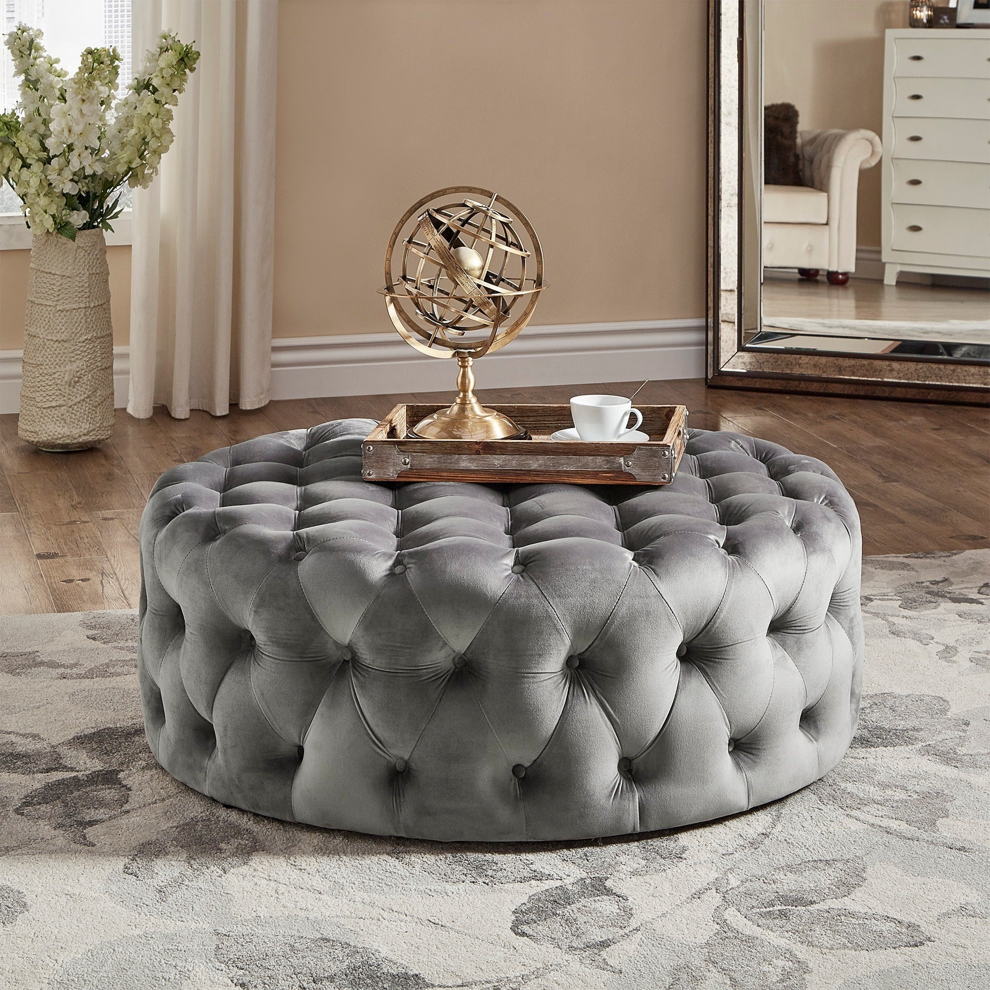 Shop knightsbridge round tufted cocktail ottoman with casters by inspire q artisan on sale free shipping today overstock com 9576234