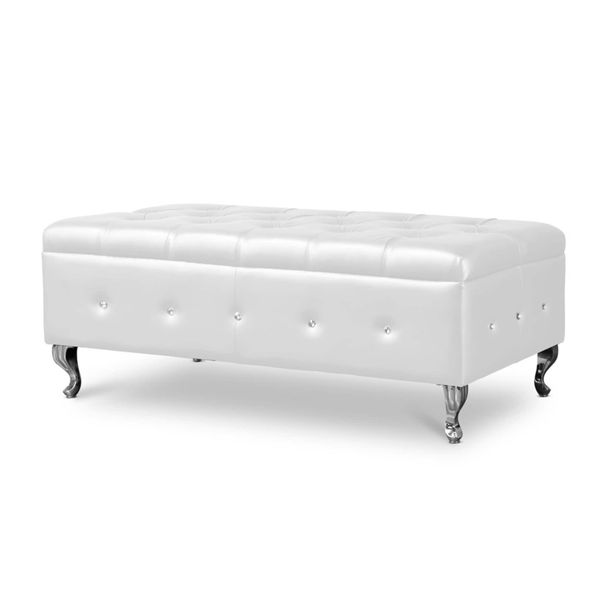 modern bedroom bench. Baxton Studio Brighton Button Tufted Upholstered Modern Bedroom Bench In White - Free Shipping Today Overstock.com 16765803