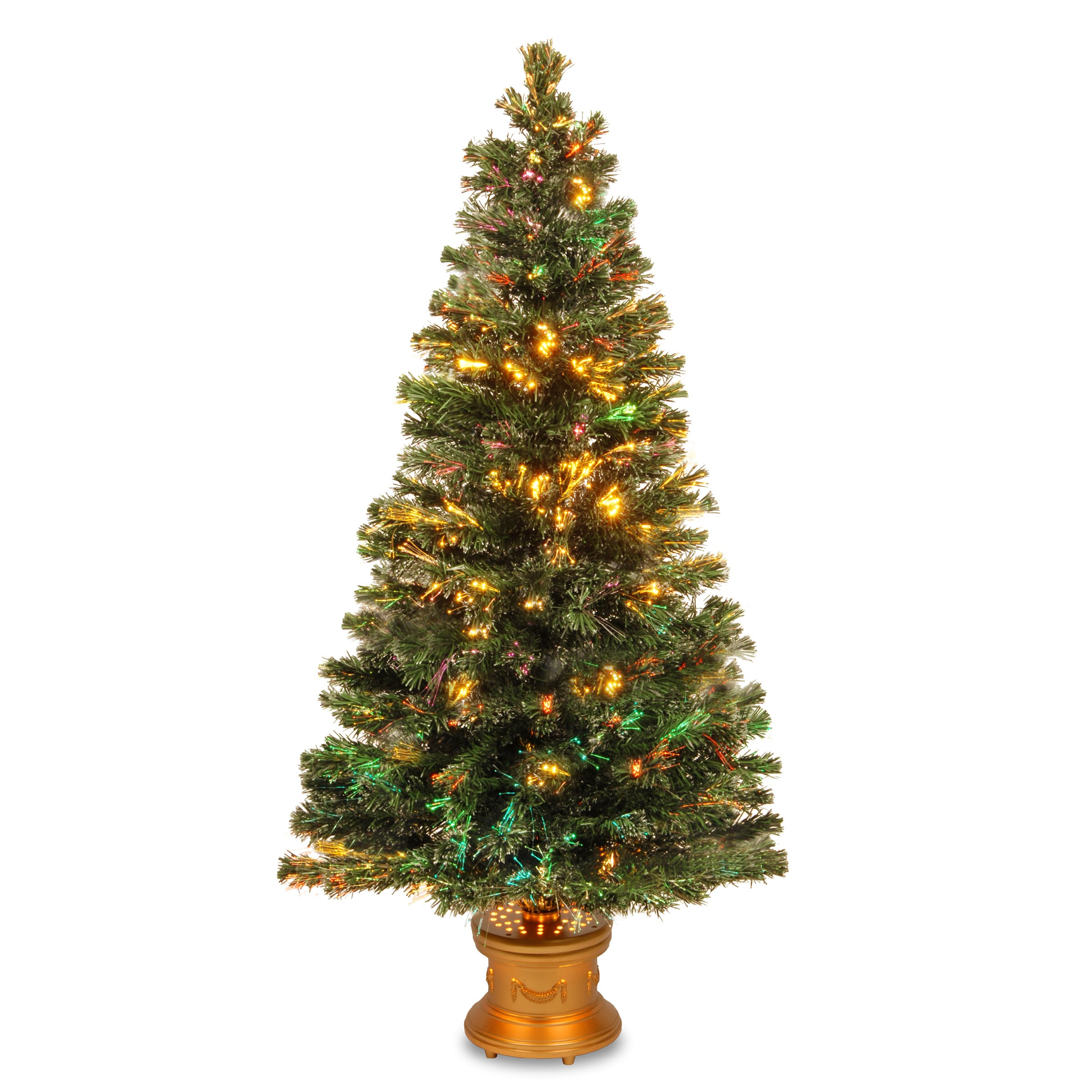c7d0f692a4dc Shop 60-inch Fiber Optic Evergreen Firework Tree with Gold Base - Free  Shipping Today - Overstock - 9578511