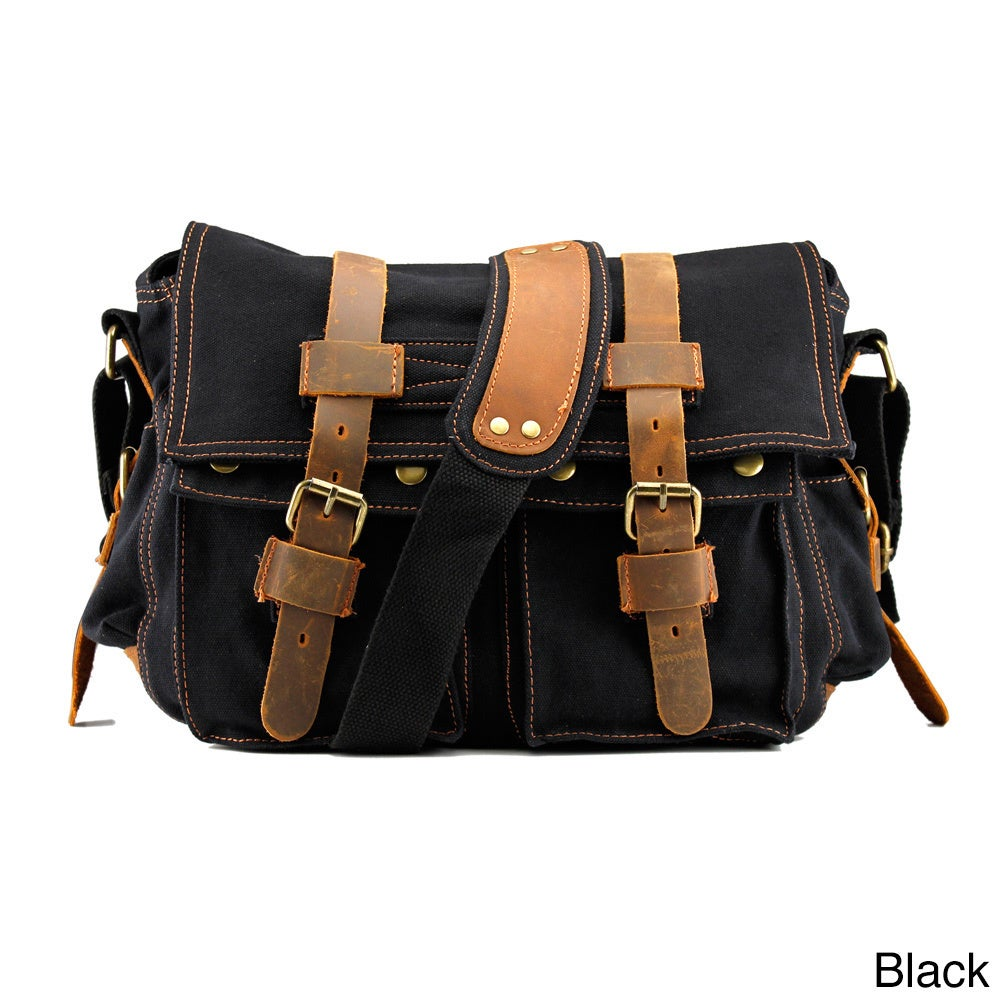 990cad3c2d2 Shop Gearonic Men s Vintage Canvas and Leather School Military Shoulder Bag  - Free Shipping On Orders Over  45 - Overstock.com - 9579732