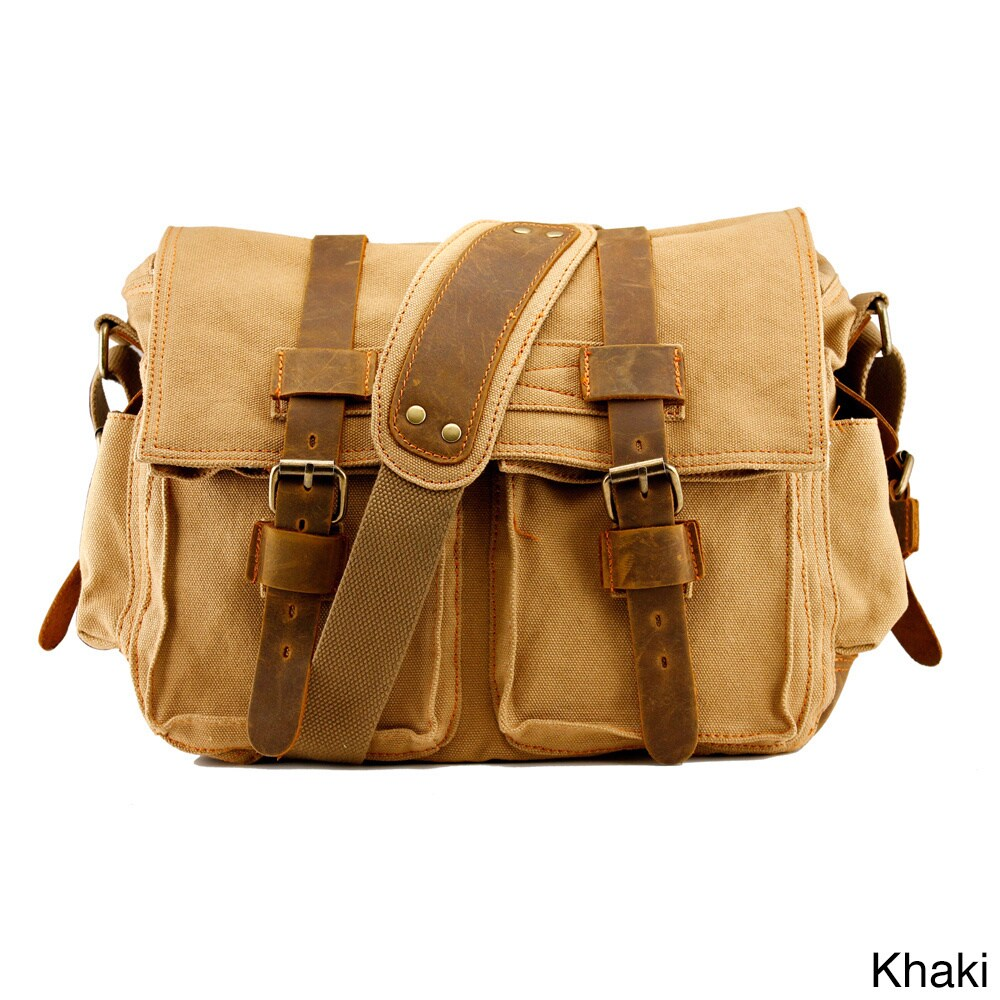 Gearonic Men S Vintage Canvas And Leather School Military Shoulder Bag Free Shipping On Orders Over 45 9579732
