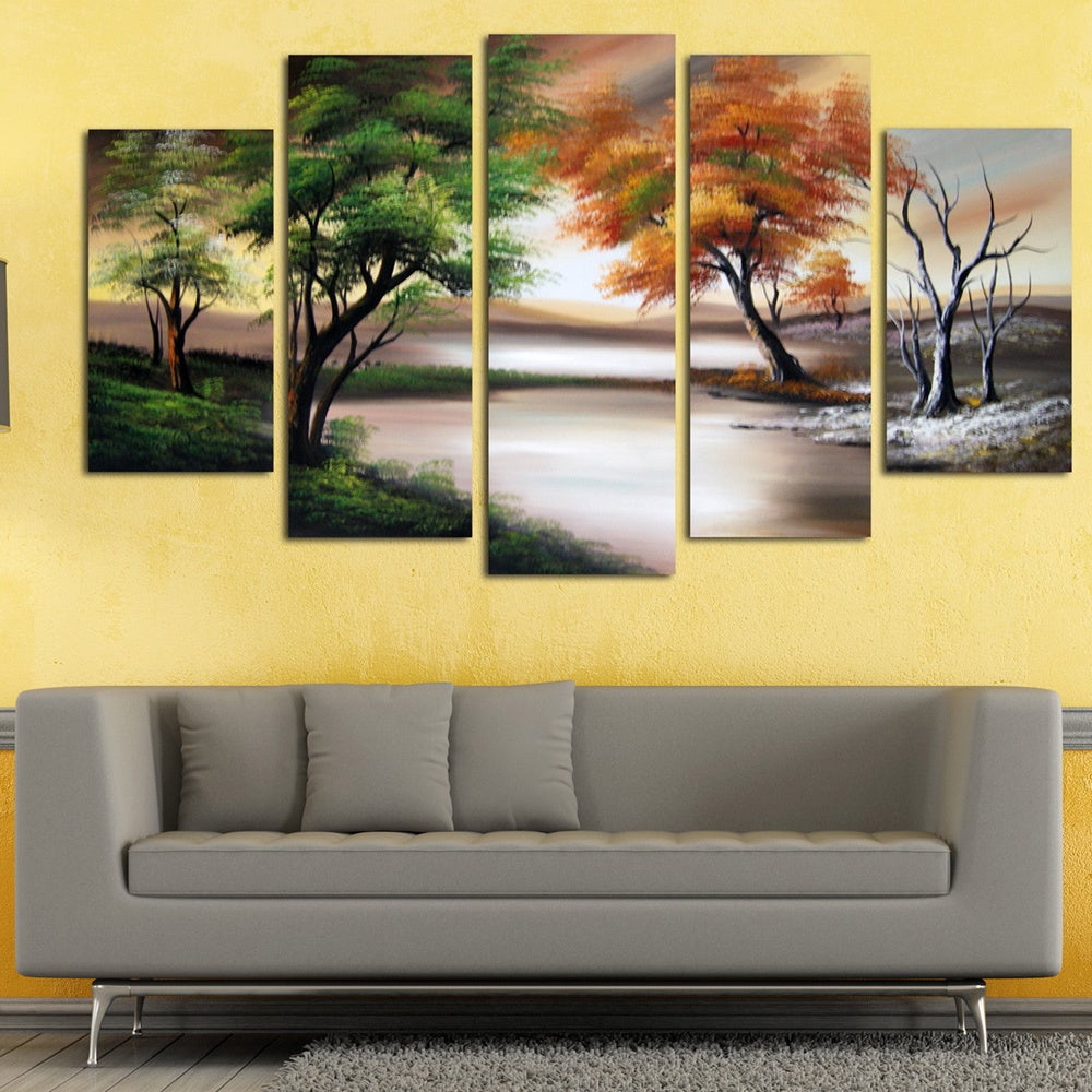 Shop Changing Seasons\' Large Gallery-wrapped Hand Oil Painting ...