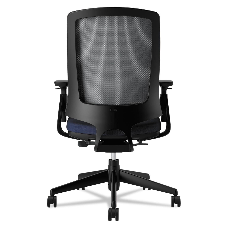 HON Lota Series Navy Fabric Black Base Mesh Mid-back Work Chair ...