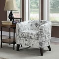 White Barrel Back Accent Chair with Printed Script Fabric