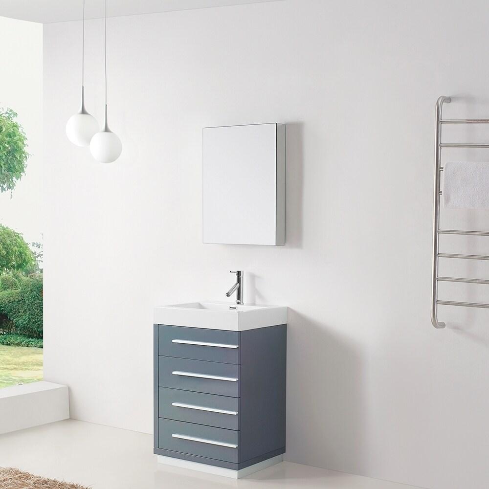 Shop Virtu Usa Bailey 24 Inch Grey Single Sink Bathroom Vanity