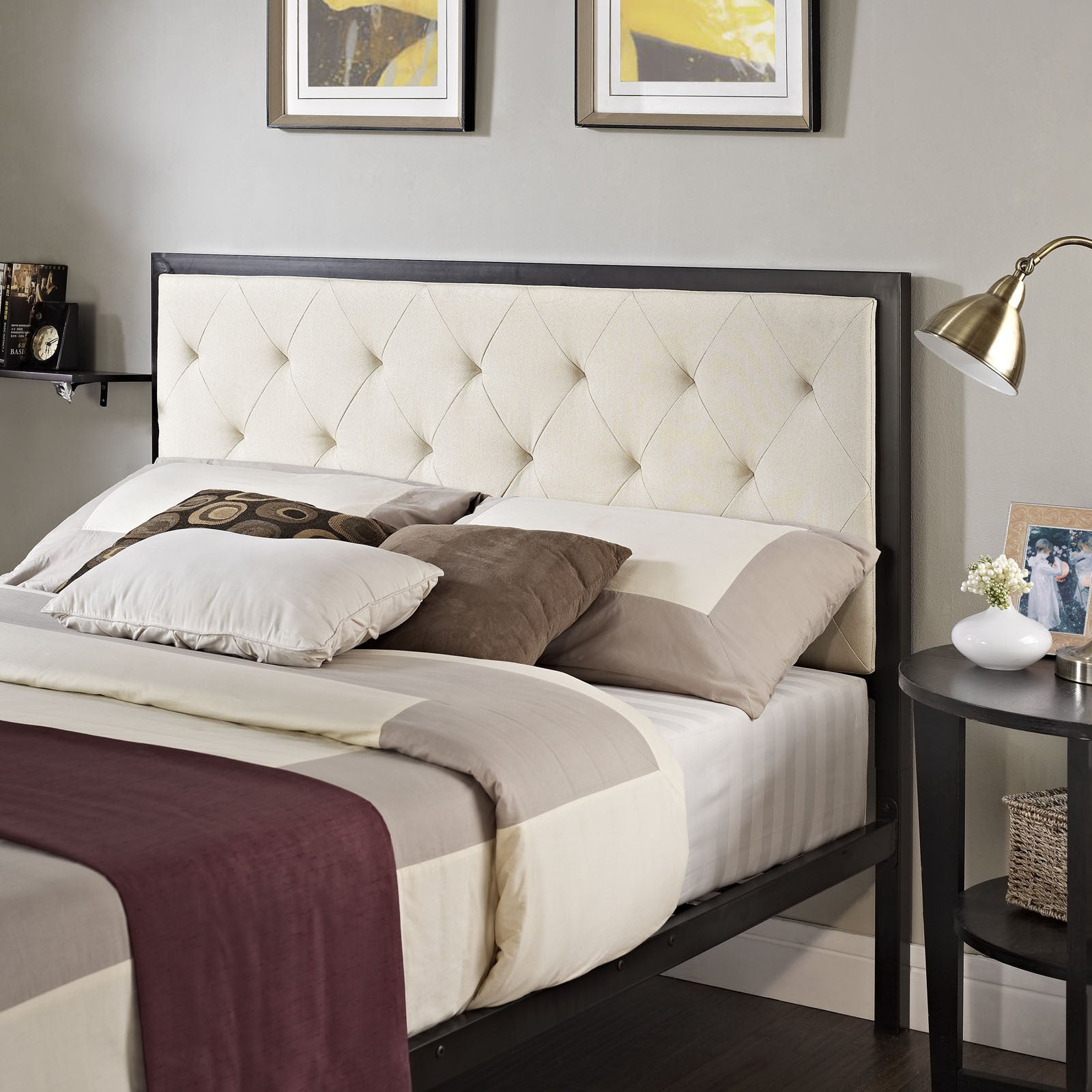Shop Mia Full Fabric Platform Bed   Free Shipping Today   Overstock.com    9597445