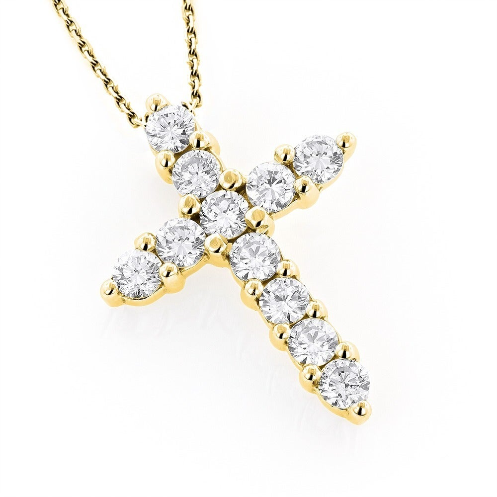 Shop luxurman 14k gold 1ct tdw round diamond cross pendant free shop luxurman 14k gold 1ct tdw round diamond cross pendant free shipping today overstock 9597816 aloadofball Choice Image