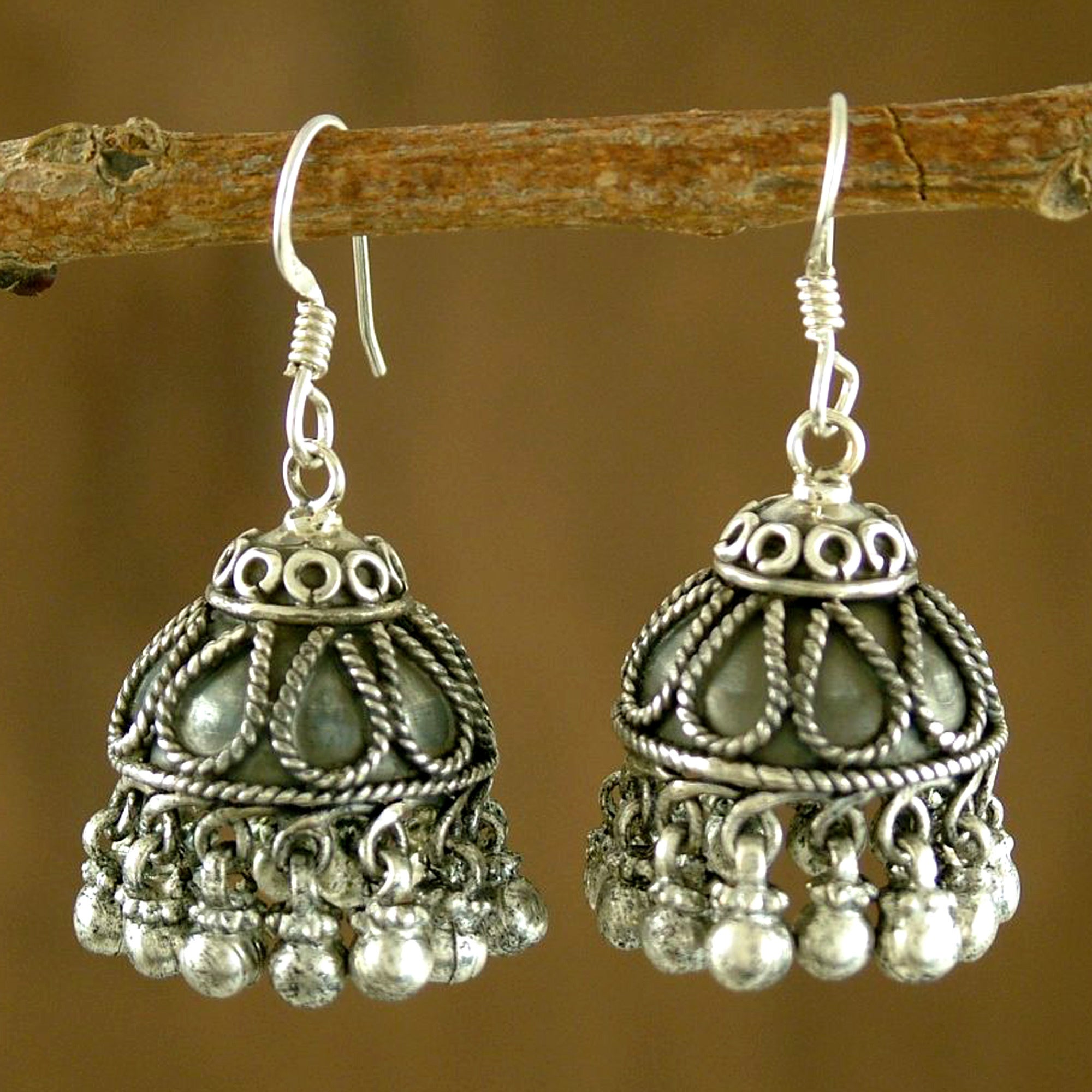 Handmade Sterling Silver Bells Chandelier Earrings India On Free Today Com 9598574
