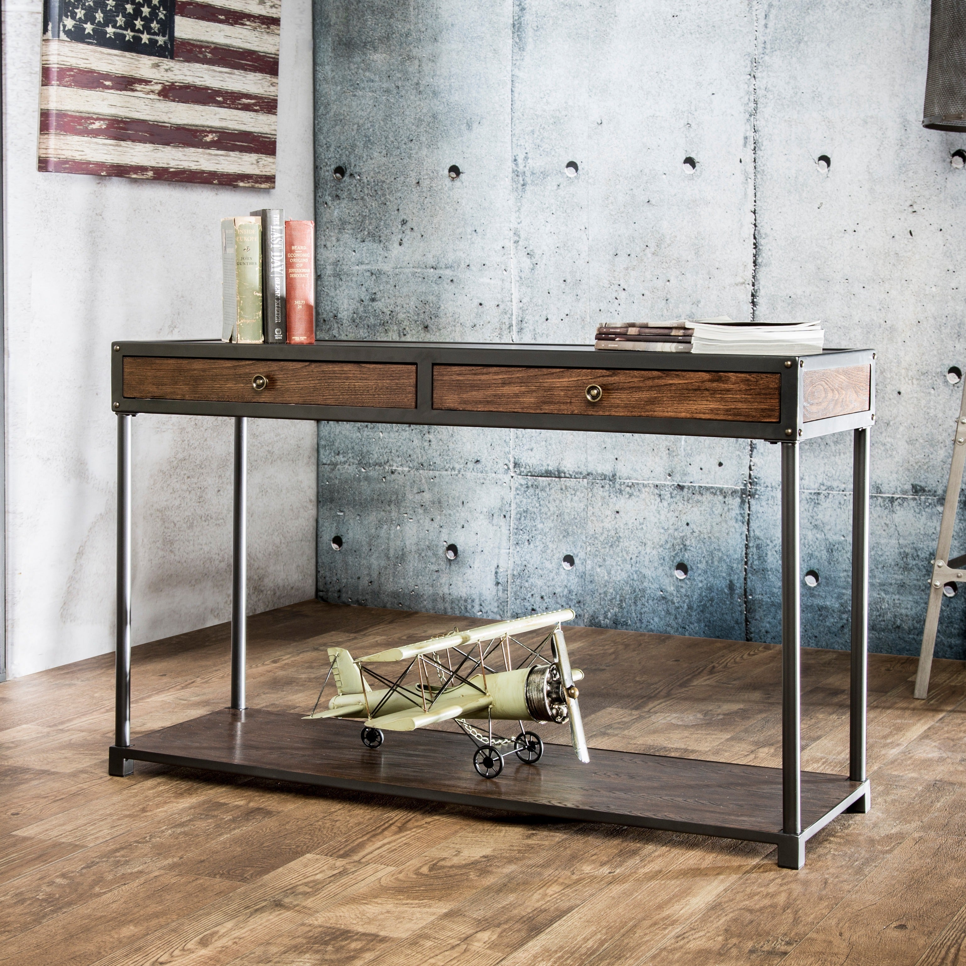 Furniture Of America Thorne Antique Oak Industrial Sofa Table   Free  Shipping Today   Overstock.com   16785550