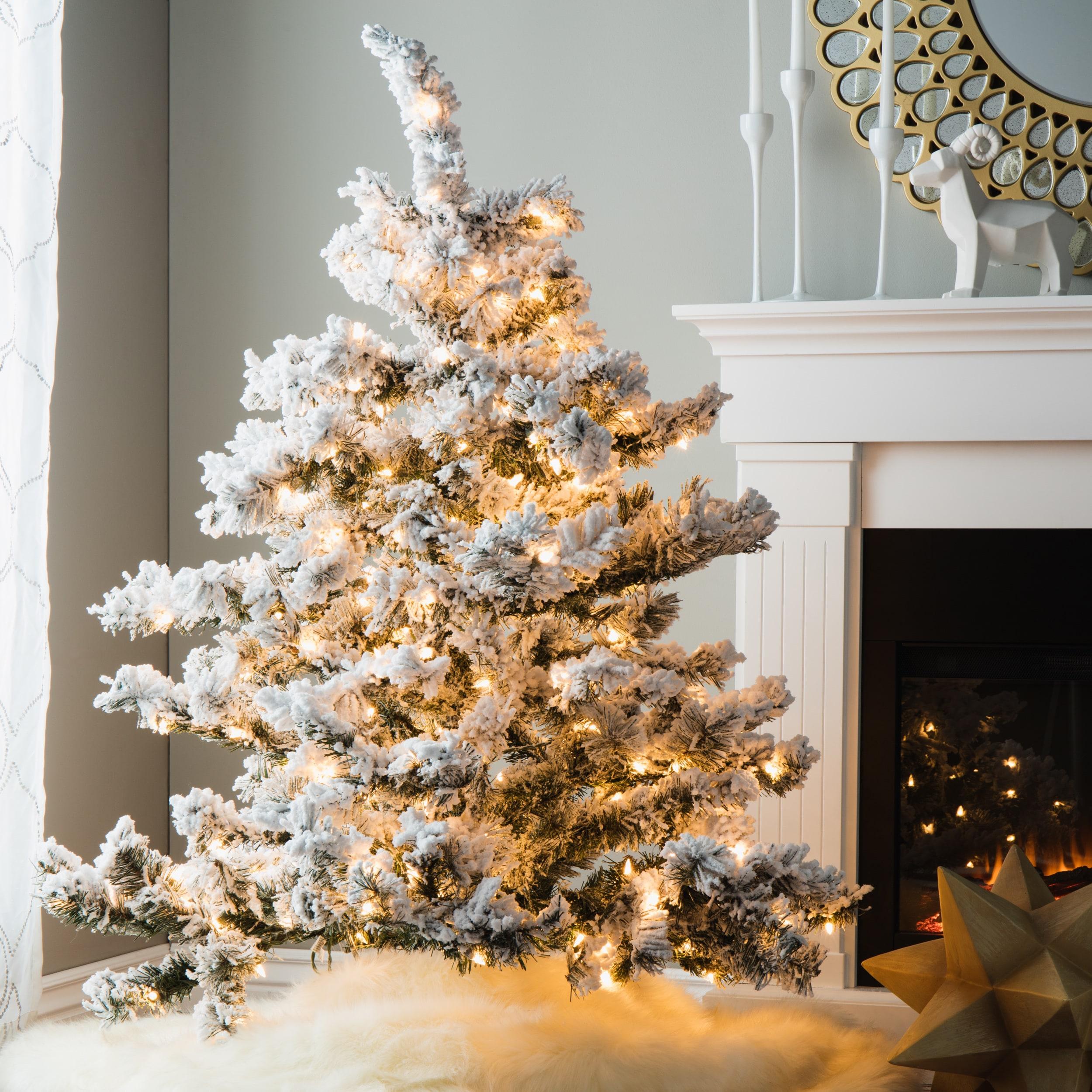 Shop 4 5 Pre Lit Flocked Alaskan Artificial Christmas Tree Clear