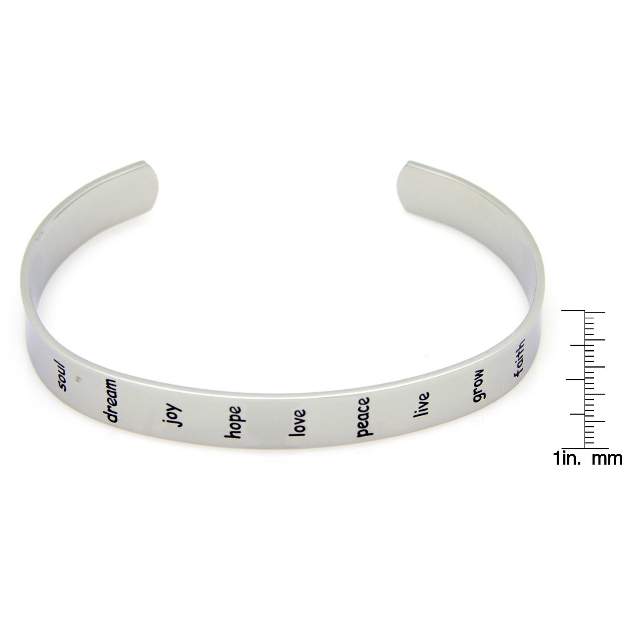 2347cbebb41f8 Stainless Steel Peace, Hope, Love, Faith... Cuff Bracelet