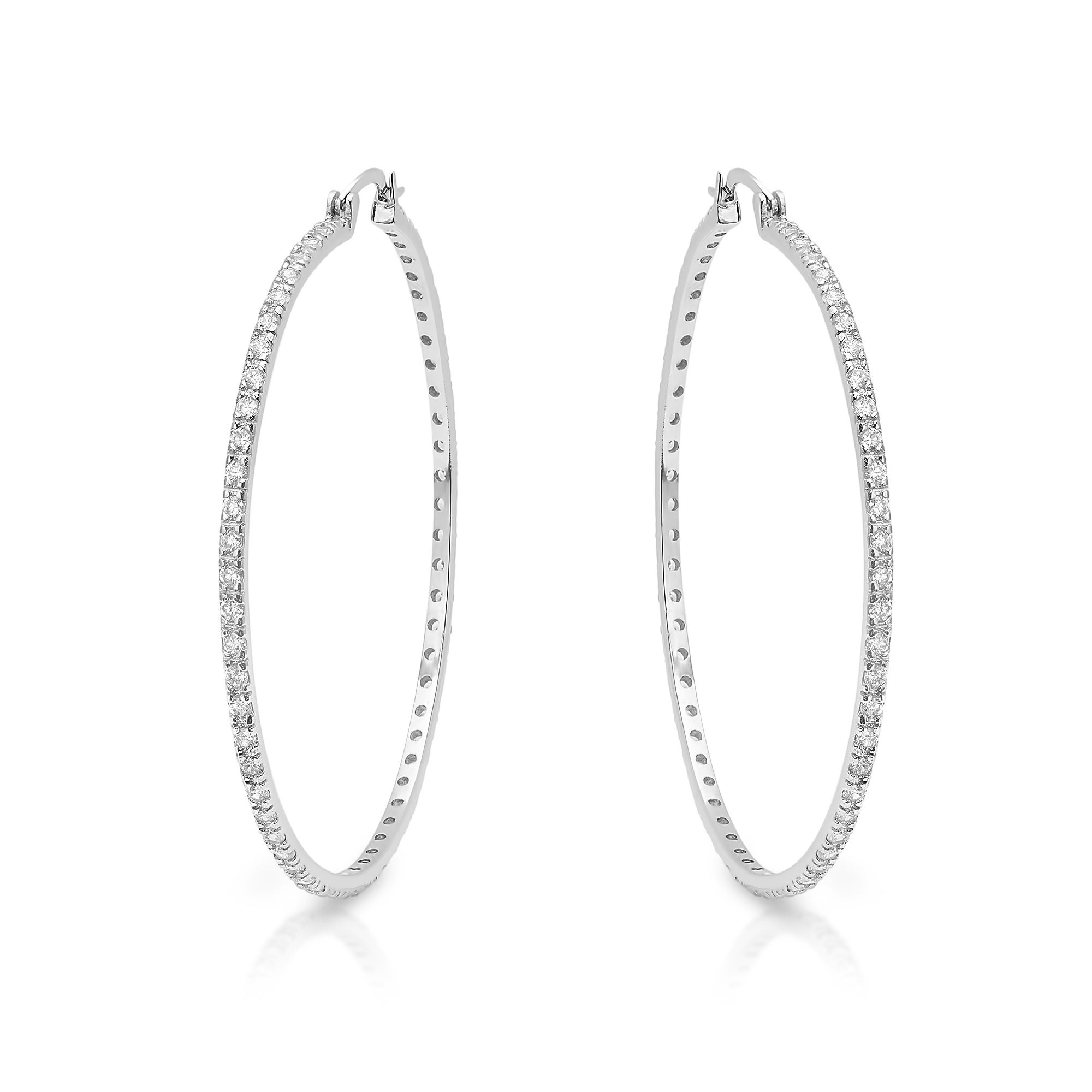 04e27b603 Shop Roberto Martinez Silver Extra Large Cubic Zirconia Hoop Earrings - On  Sale - Free Shipping Today - Overstock - 9601651