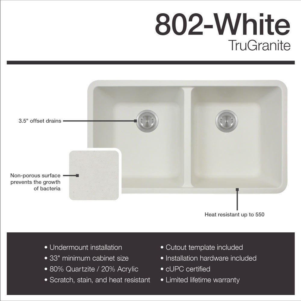 802 TruGranite Double Equal Bowl Kitchen Sink - Free Shipping Today ...