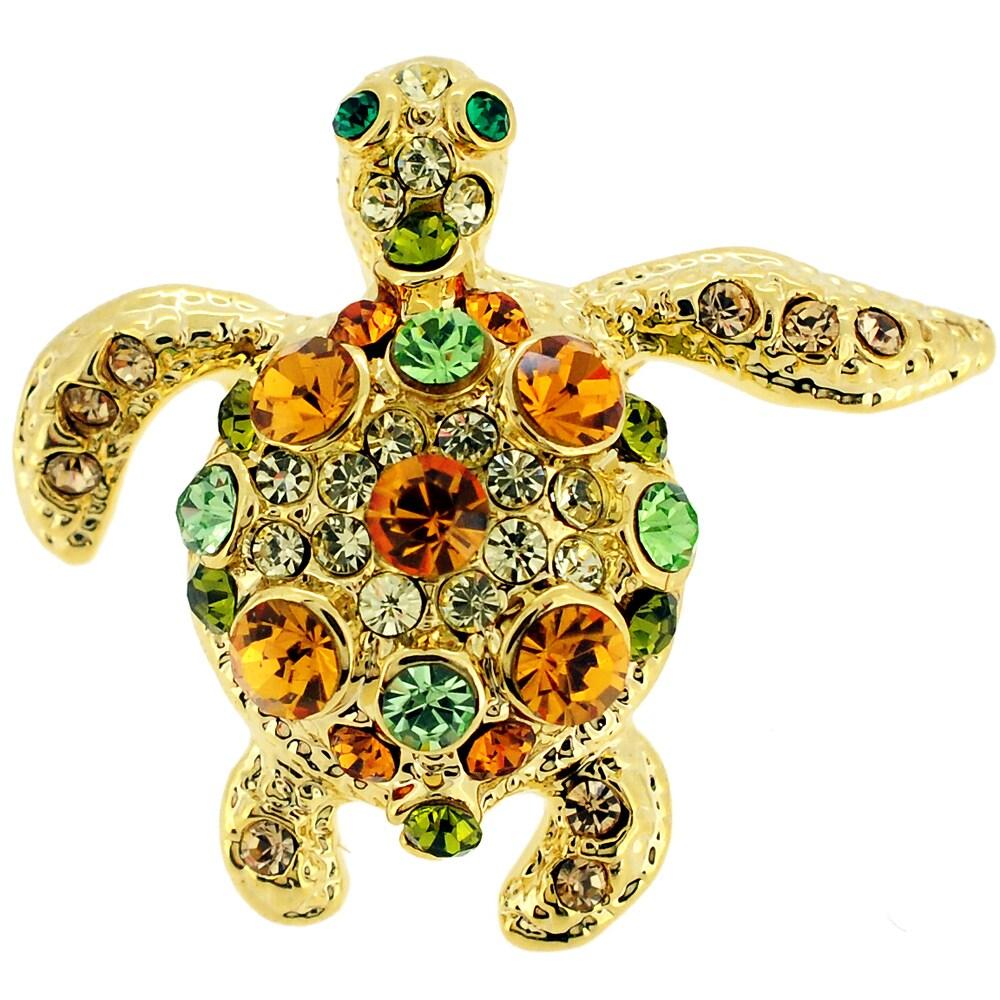 Shop Multi-color Crystal Sea Turtle Lapel Pin - On Sale - Free ...