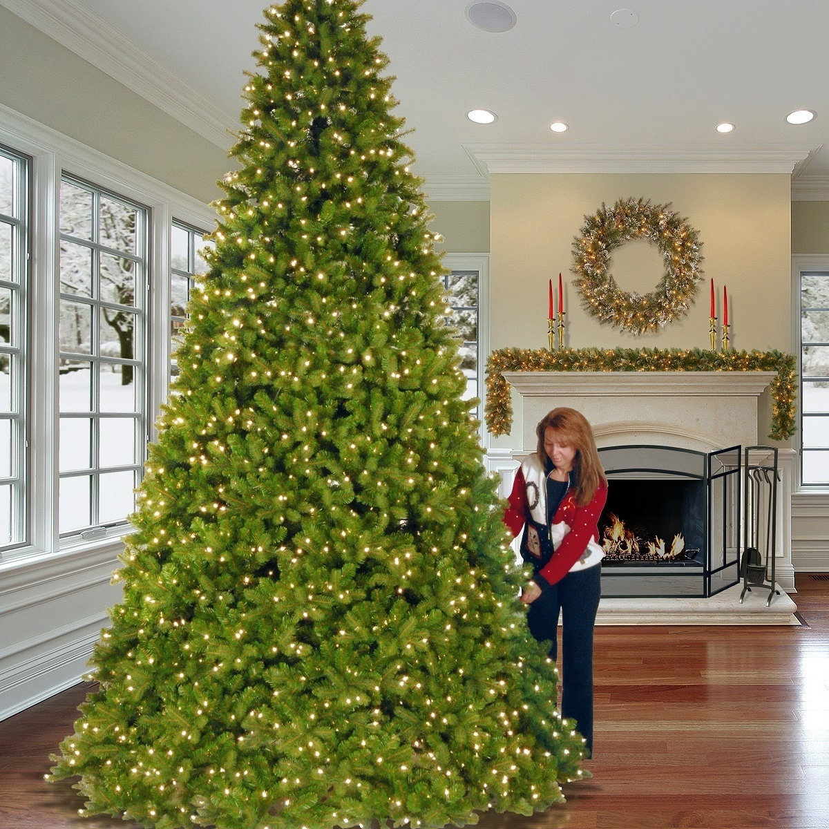 Shop 12-foot Downswept Douglas Fir Tree with Clear Lights - Ships To Canada - Overstock.ca - 9603027