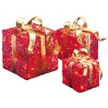 6-inch, 8-inch and 10-inch Assorted Red Sisal Gift Boxes with 20, 20 and 35 Clear Indoor/ Outdoor Lights