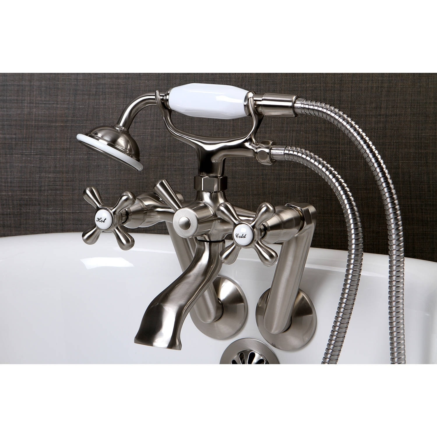 Shop Tub Wall Mount Satin Nickel Clawfoot Tub Faucet - On Sale ...